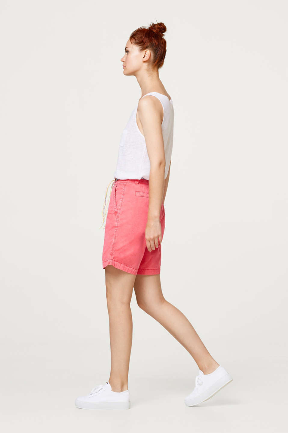 Washed shorts with belt, 100% cotton