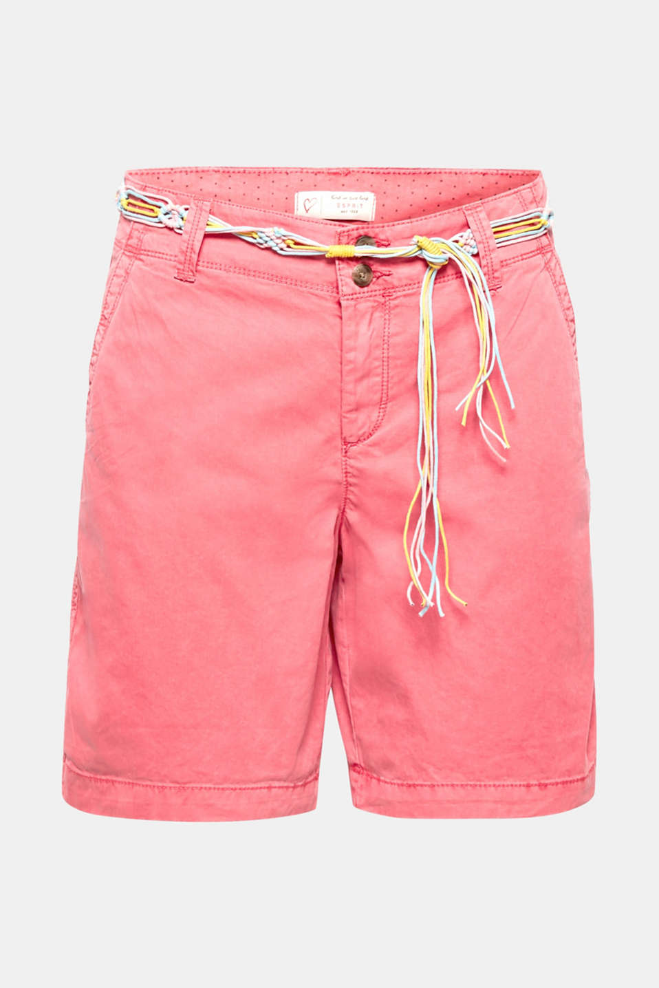These unfussy shorts made of washed cotton with a colourful, braided tie belt are perfect for casual wear and holidays!