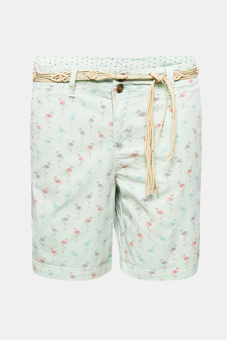 Summer, sun, sea: these soft washed cotton shorts with a colourful print and macramé belt are the perfect companion for warm summer days!