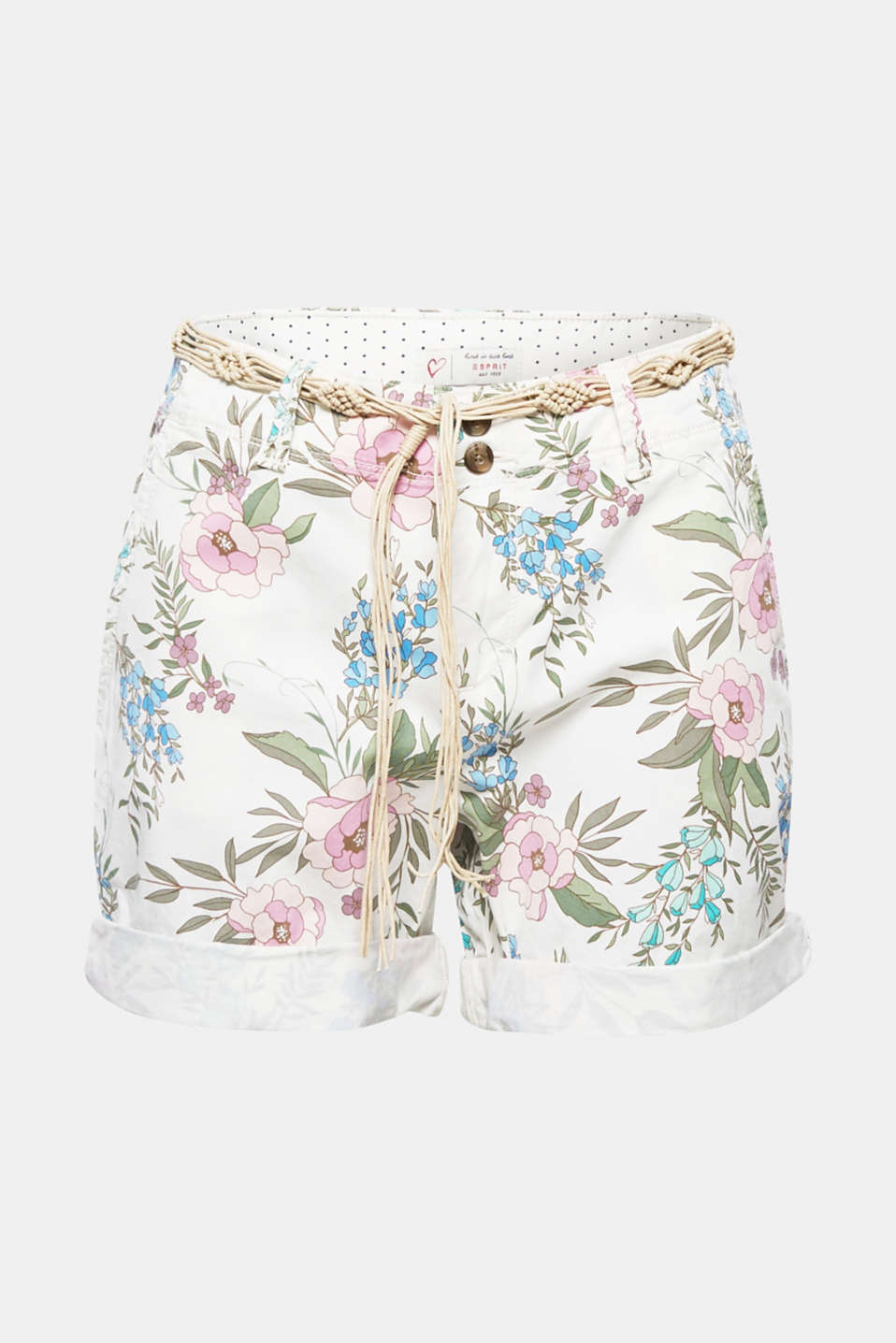 These light, stretch cotton shorts with a colourful floral print and decorative, macramé tie-around belt radiate a heavenly, holiday vibe!
