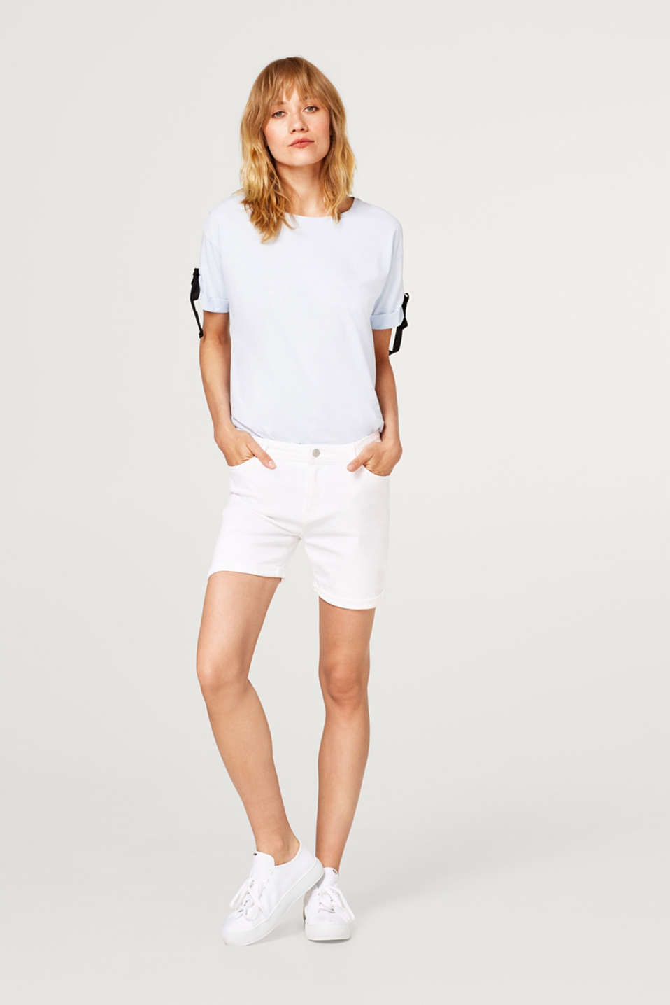 Witte denim short met comfortabele stretch