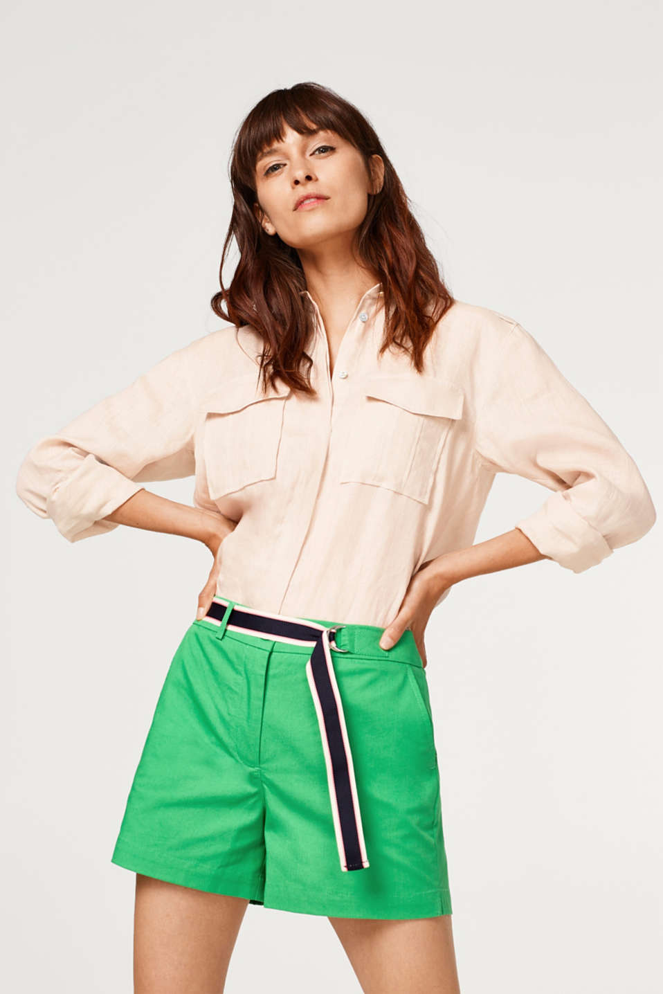 Esprit - Stretch shorts with a woven tape belt