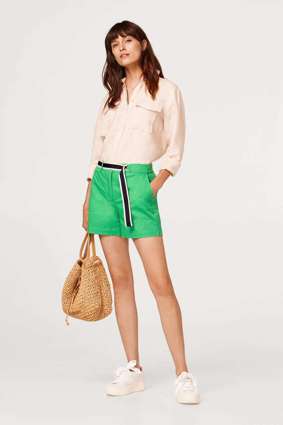 Stretch shorts with a woven tape belt