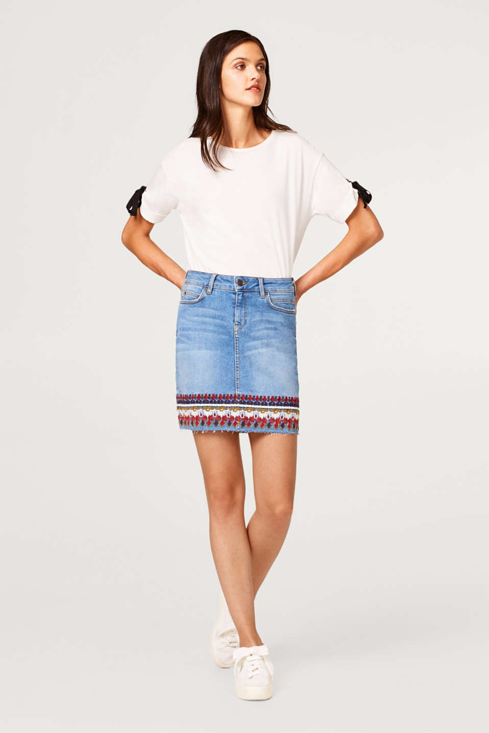 Esprit - Stretch denim skirt with tribal embroidery
