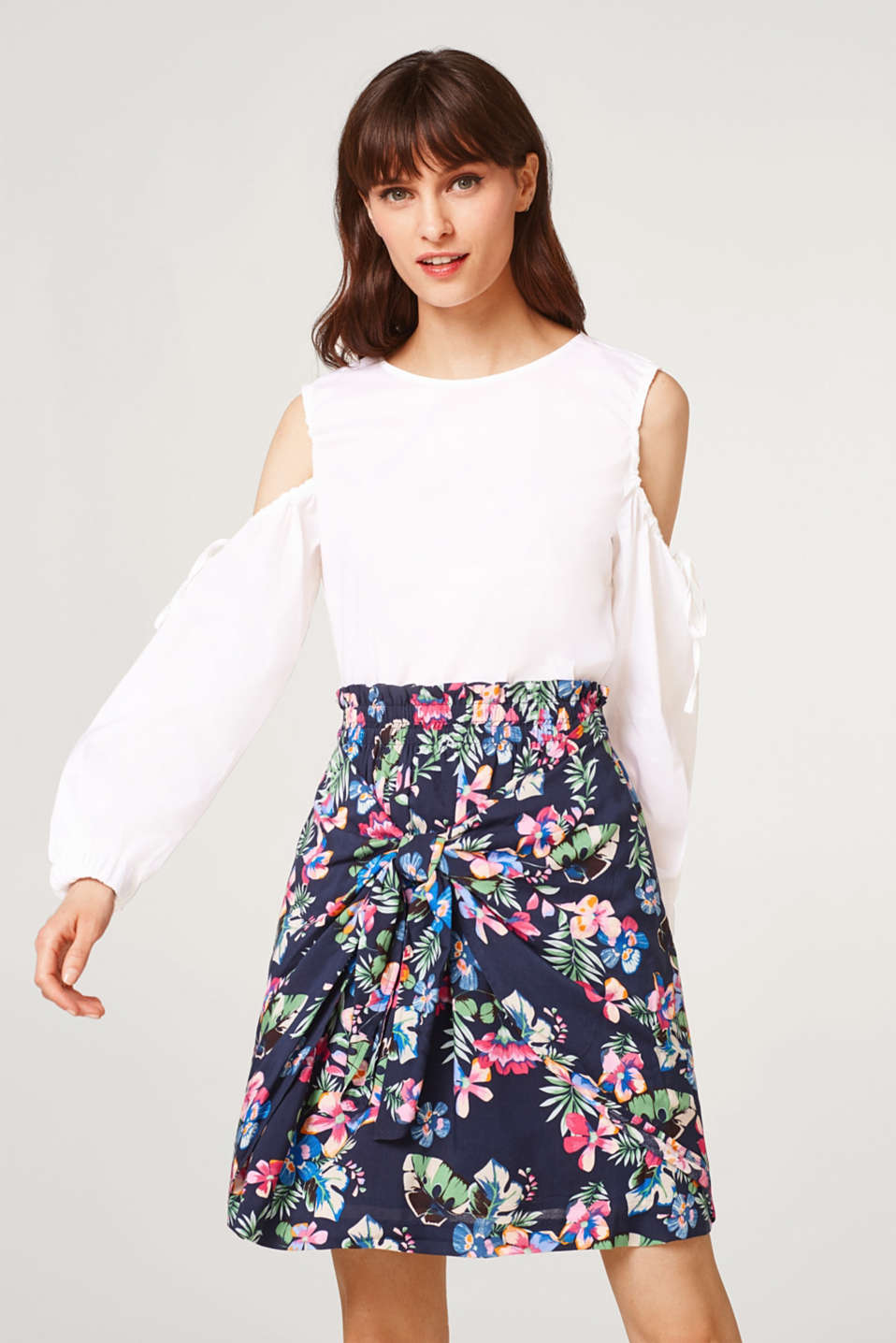Esprit - Skirt with a Hawaiian print in a layered look