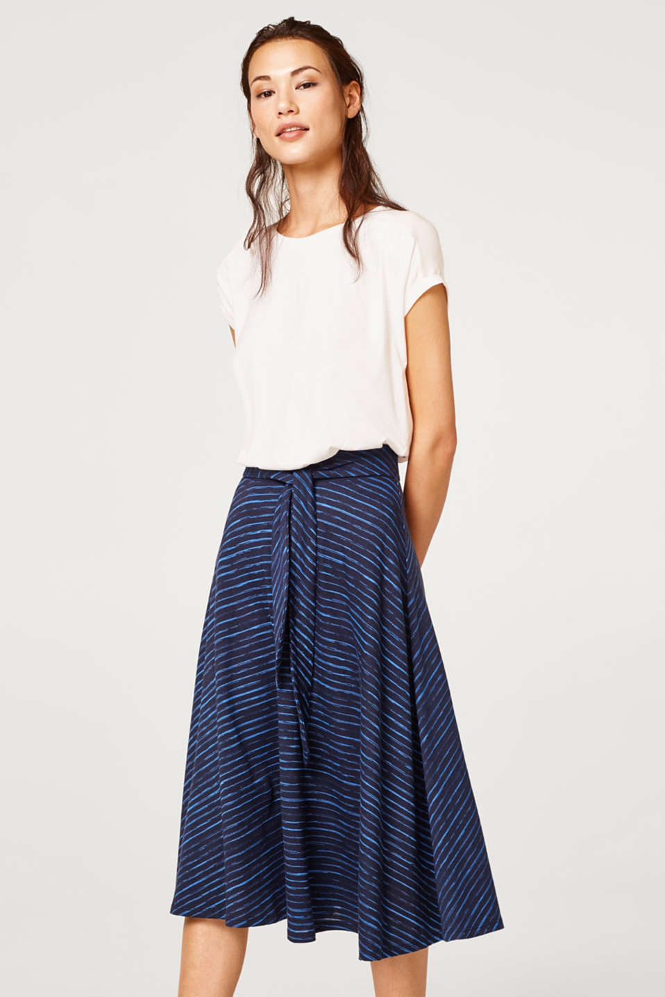 Esprit - Striped A-line midi skirt made of jersey