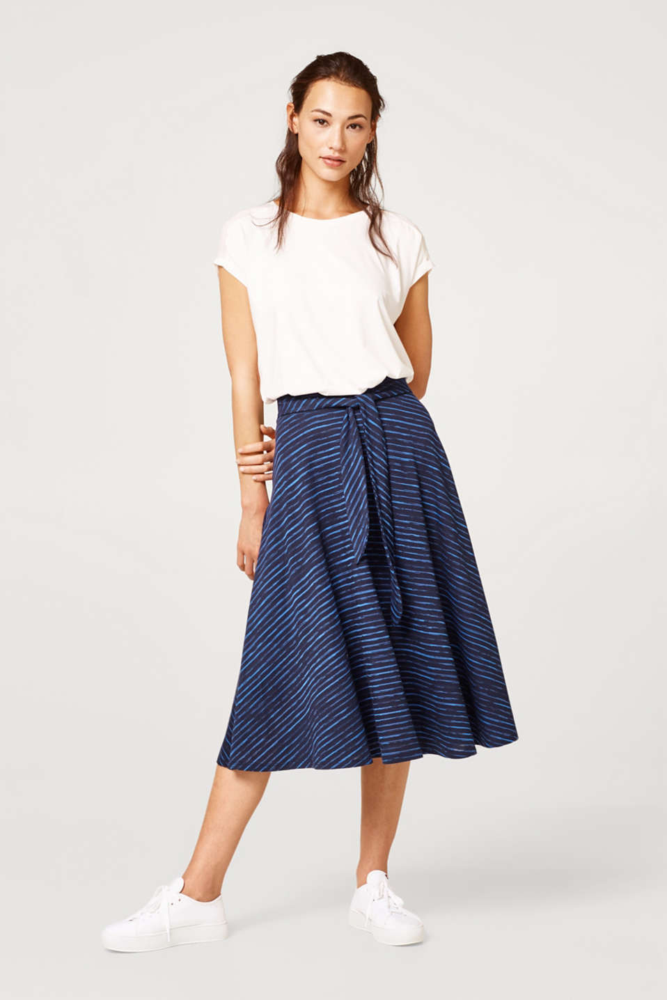 Striped A-line midi skirt made of jersey