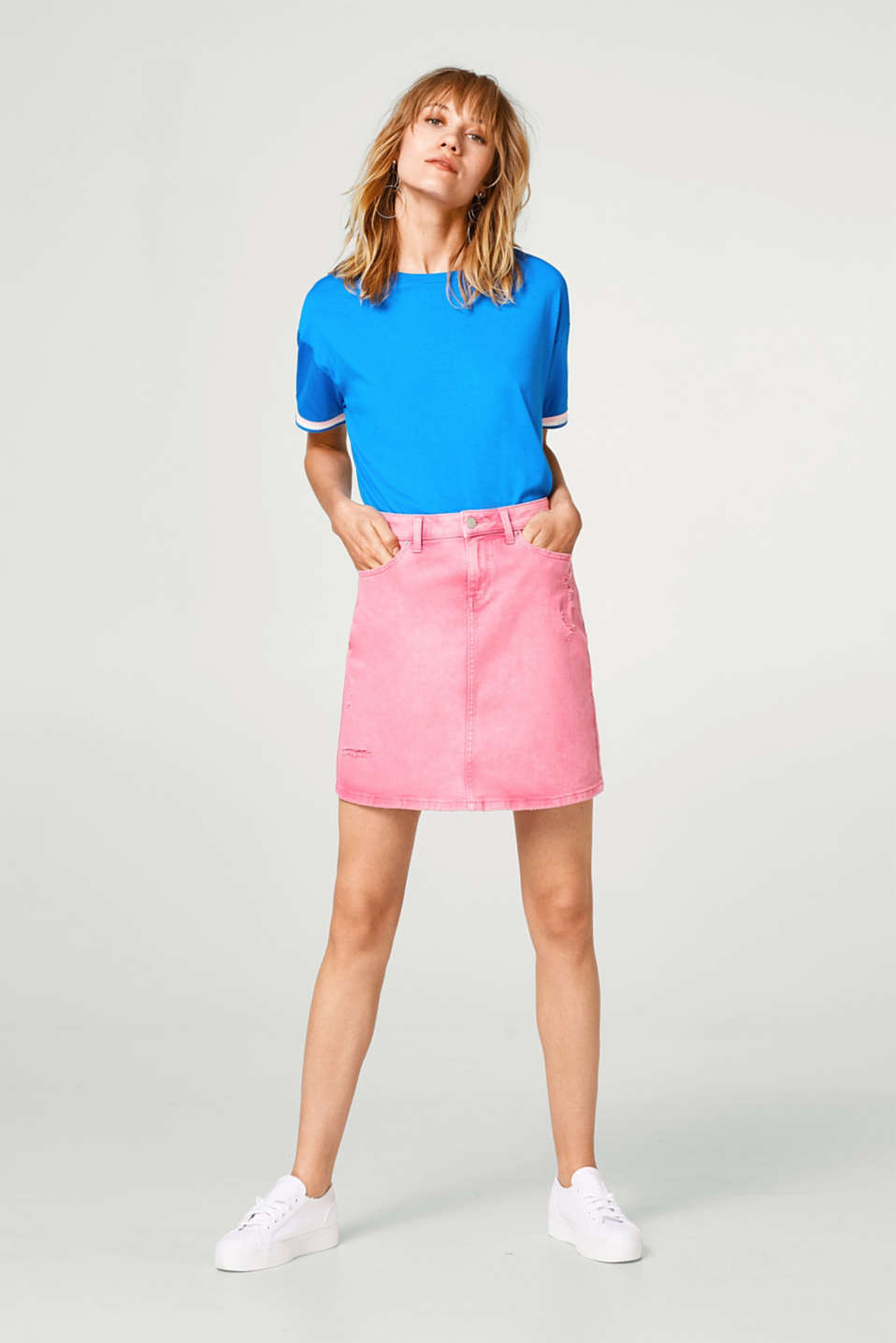 Stretch denim skirt in a casual vintage-look