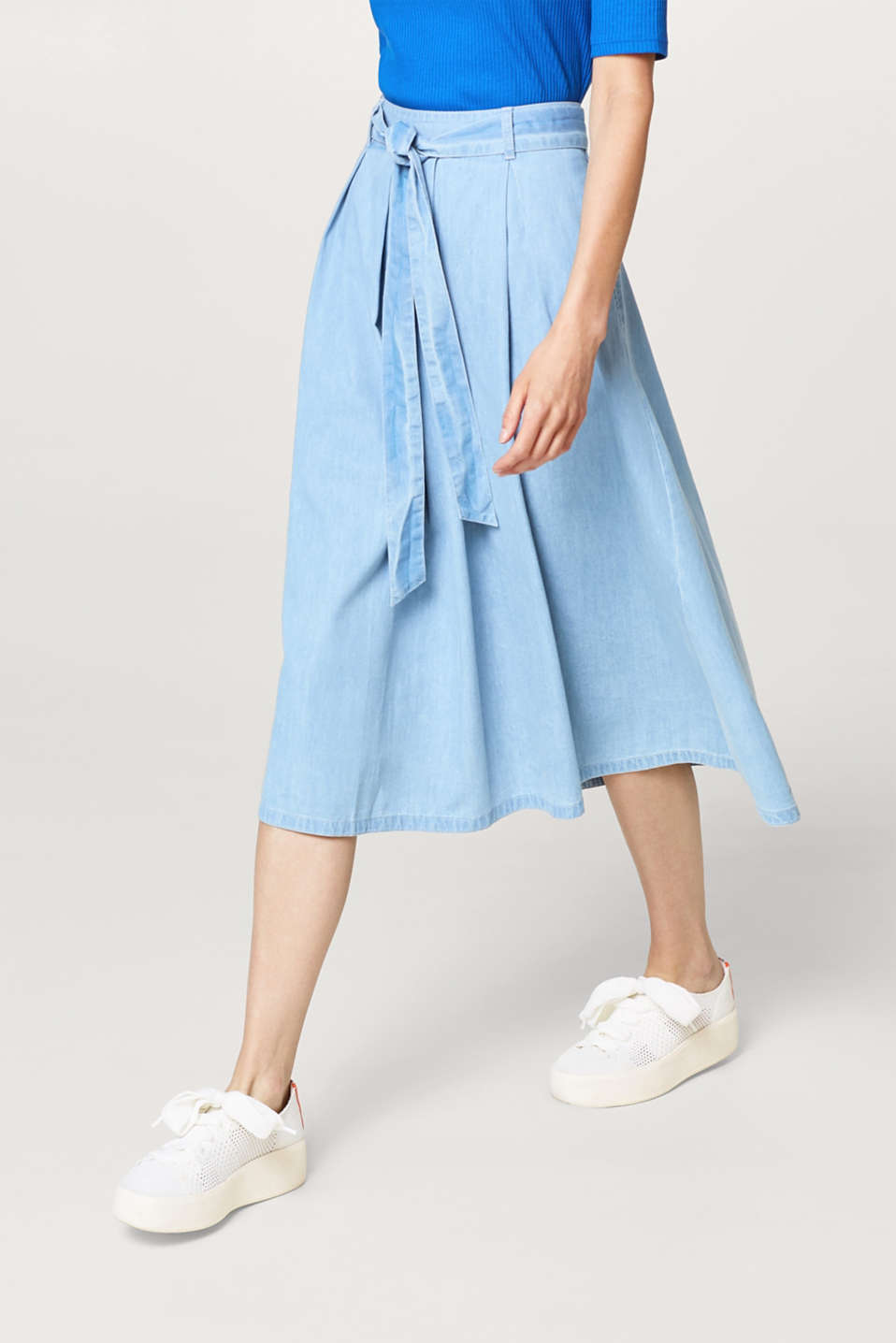Esprit - Cotton A-line skirt in a denim look