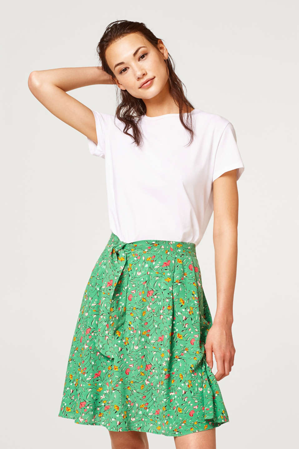 Esprit - Flared woven skirt with bow detail