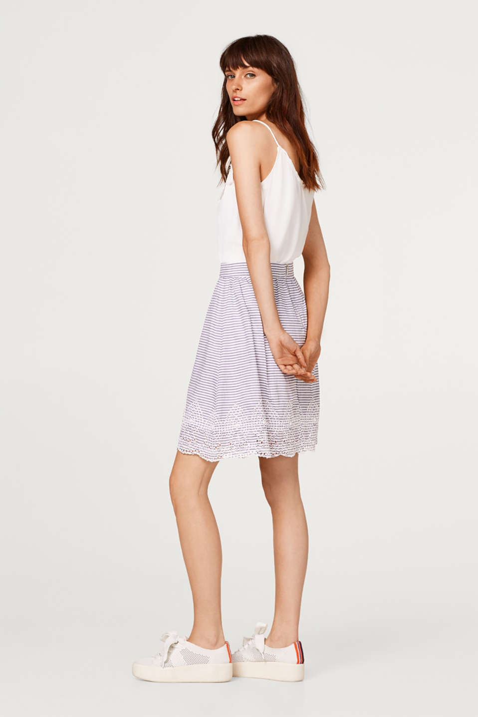 Broderie anglaise detail skirt, 100% cotton