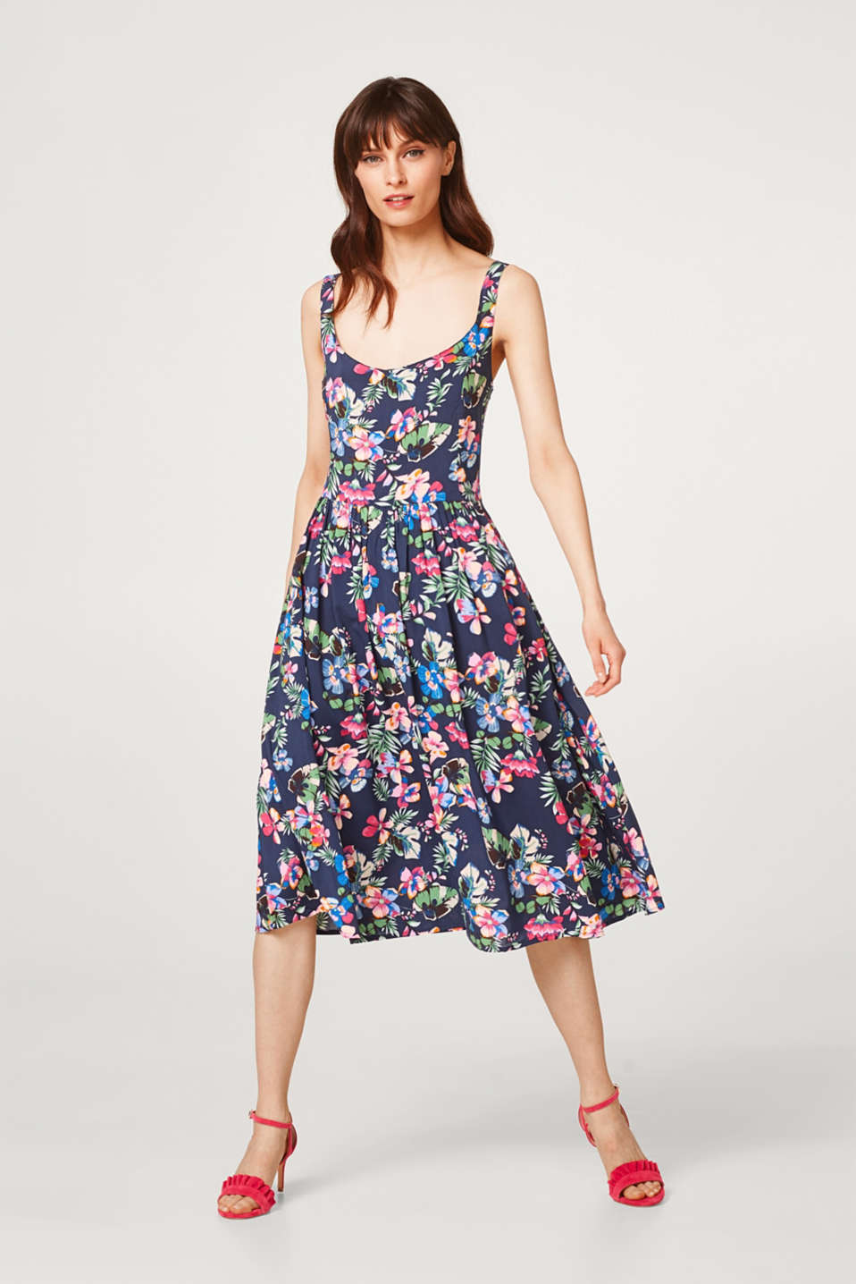 Wide swirling dress with a floral print