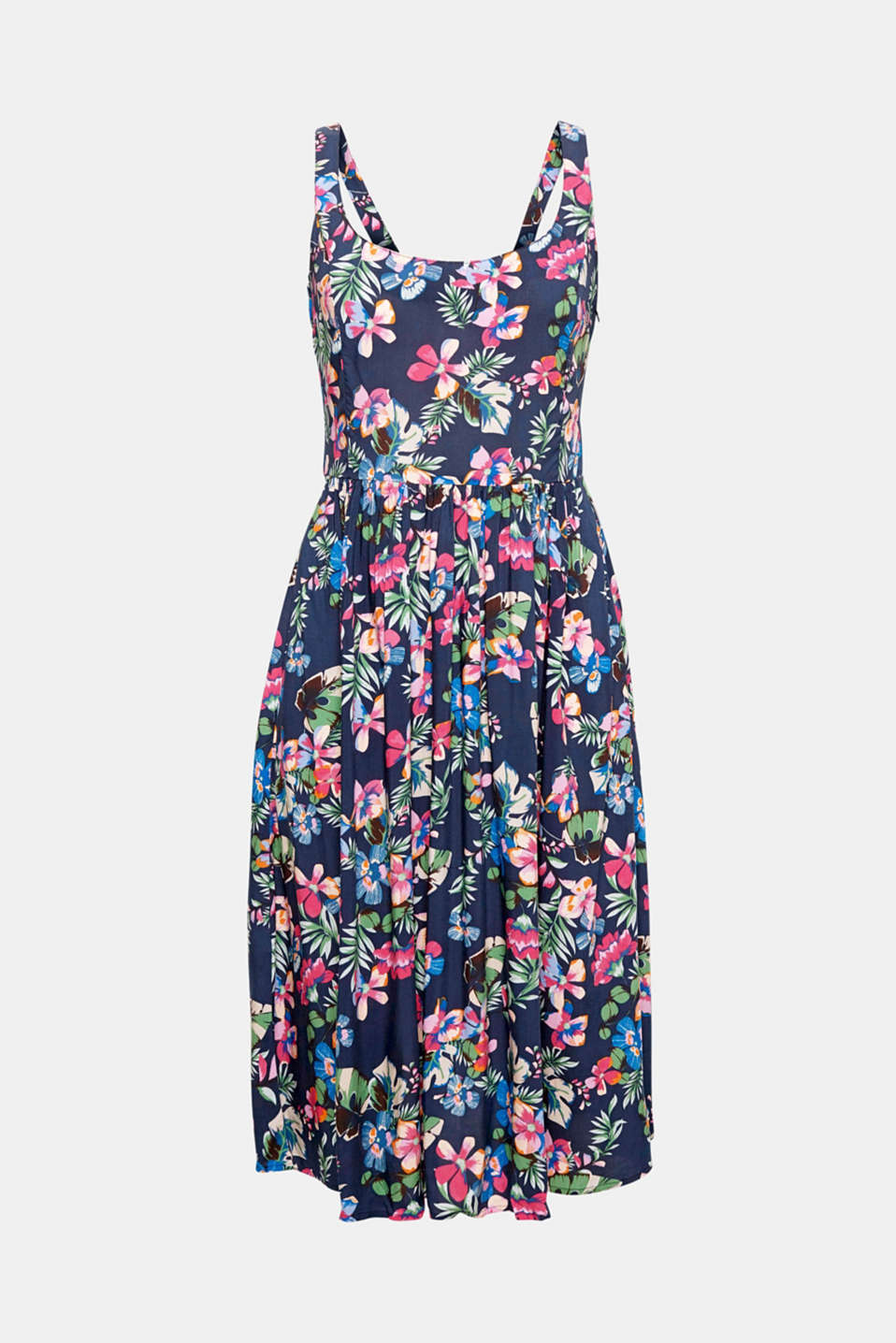 The fresh floral print, narrow straps and bow detail at the back highlight the pretty style of this floaty dress.