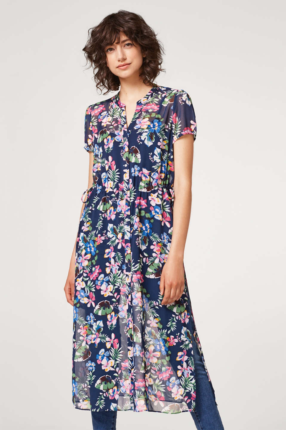 Esprit - Sheer chiffon dress with a floral pattern