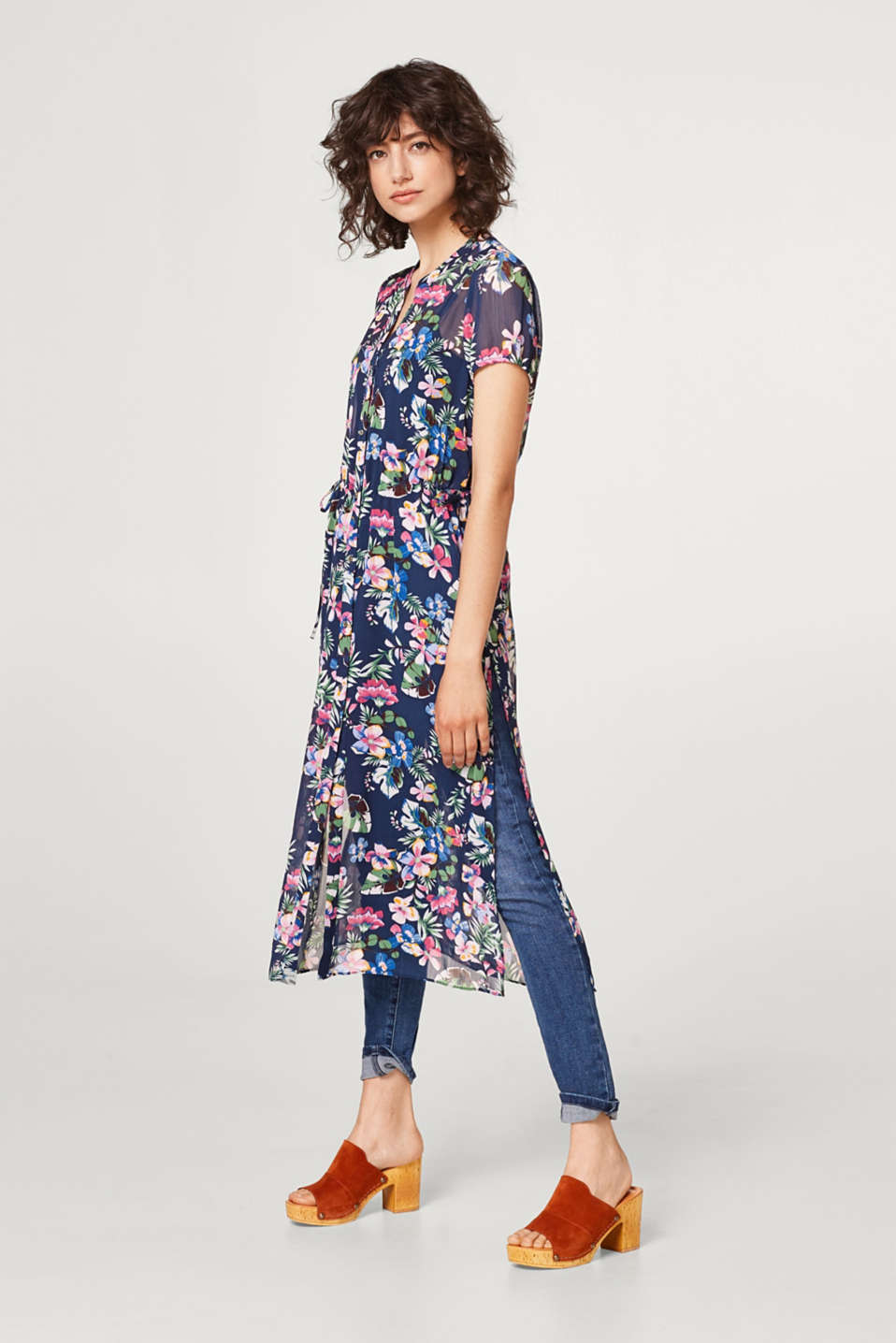 Sheer chiffon dress with a floral pattern