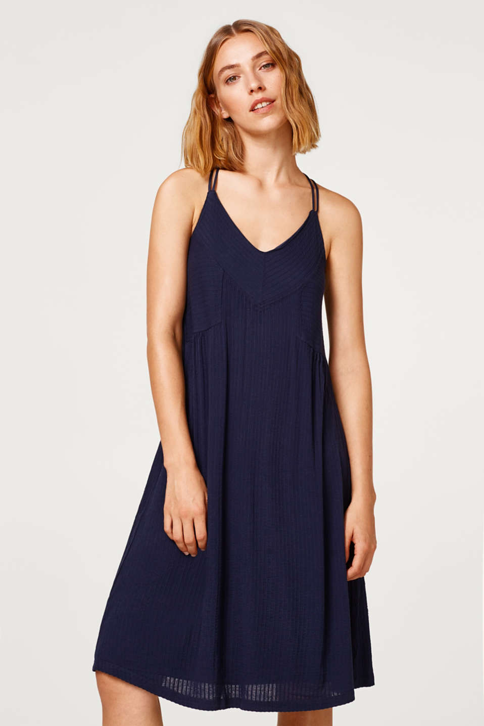 Esprit - Strappy dress made of jersey with a ribbed texture