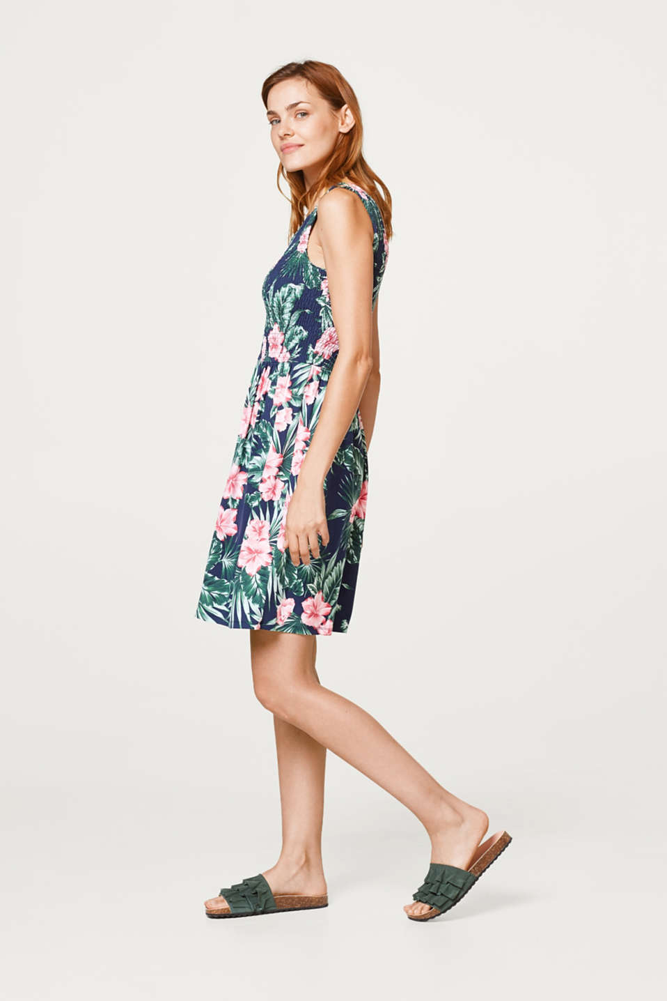 Jersey dress with a colourful print and smock effect