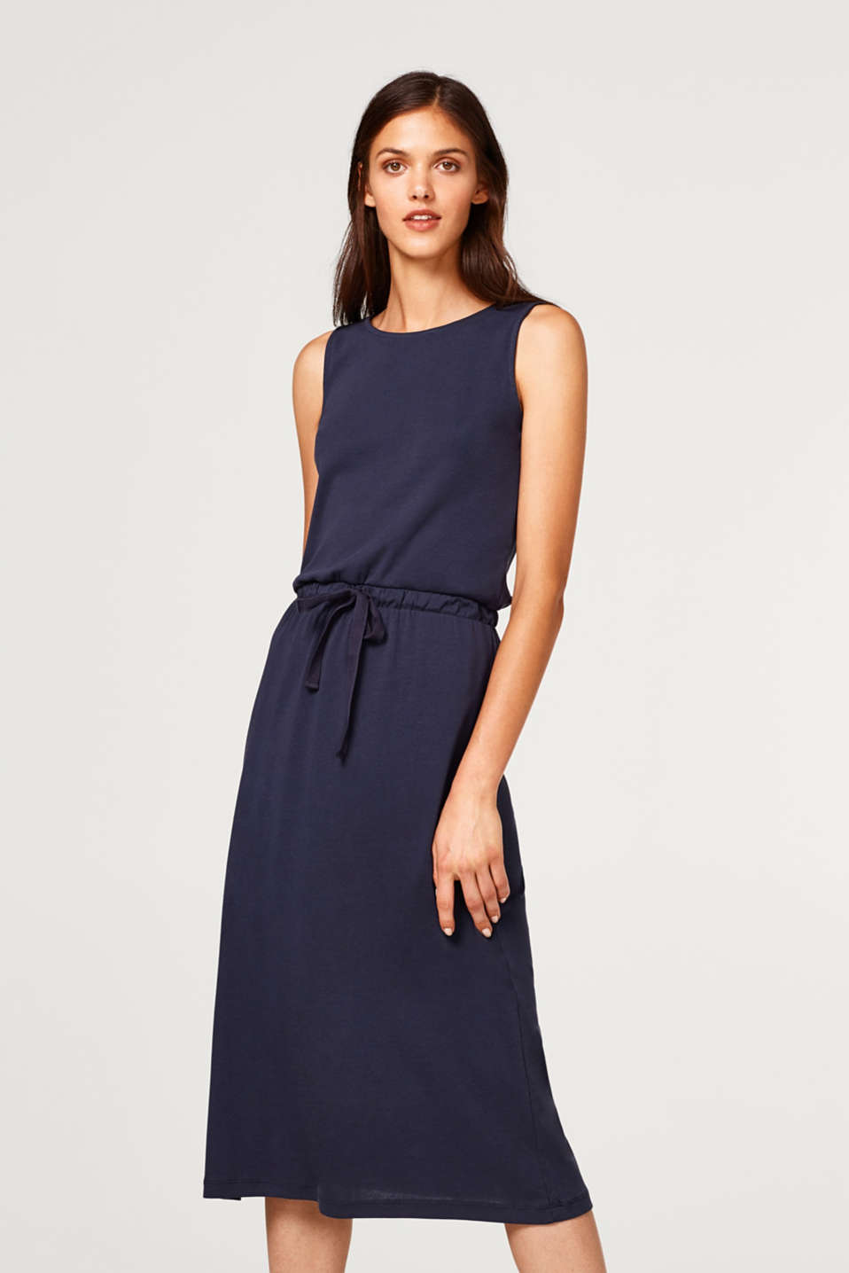 Esprit - Midi dress with a drawstring, 100% cotton