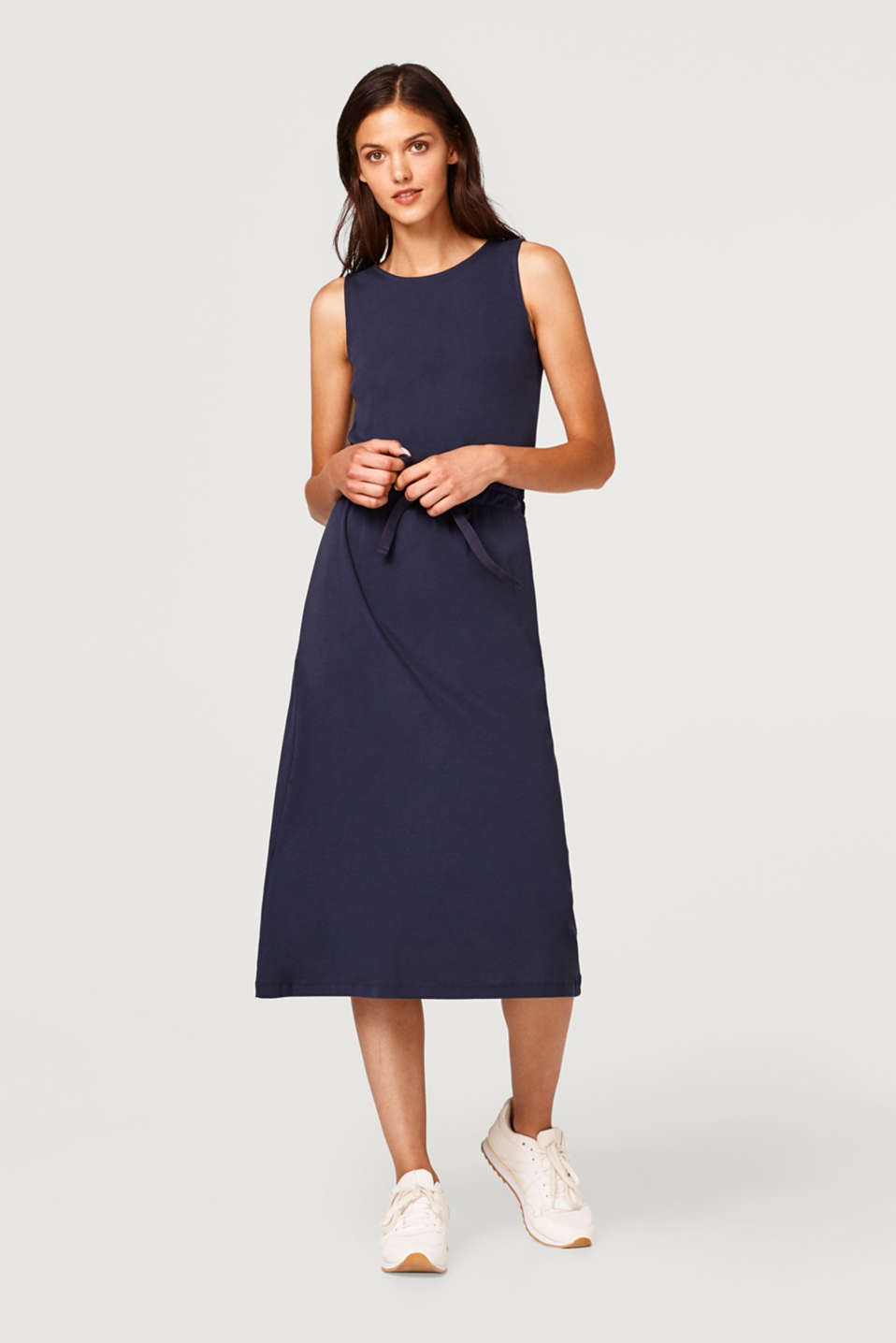 Midi dress with a drawstring, 100% cotton