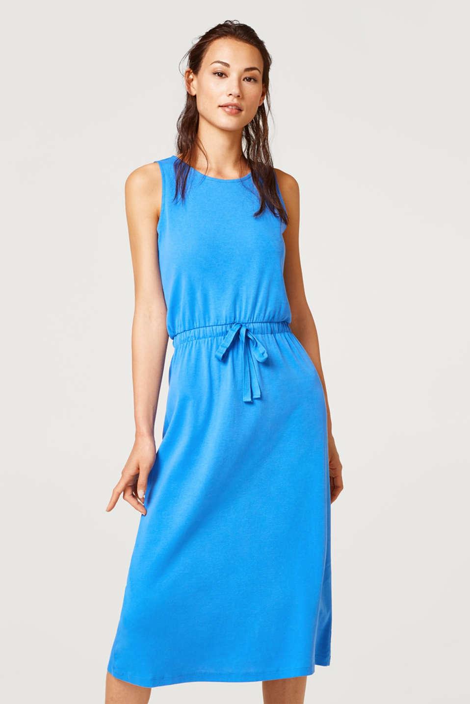 Esprit - Midi-Kleid mit Tunnelzug, 100% Baumwolle im ...