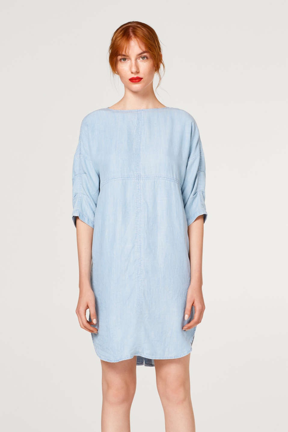 Esprit - Faded denim-effect dress made of lyocell