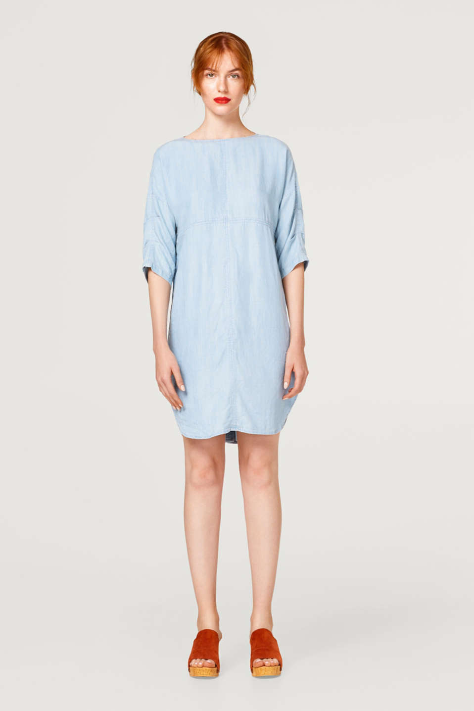 Faded denim-effect dress made of lyocell