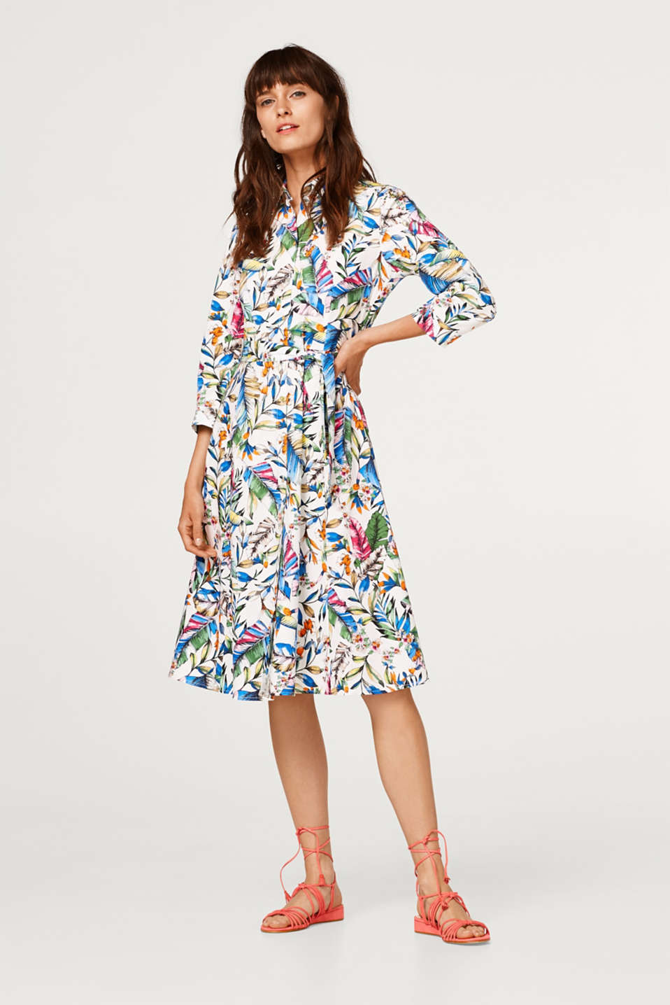 Esprit - Stretch dress with a Hawaiian print