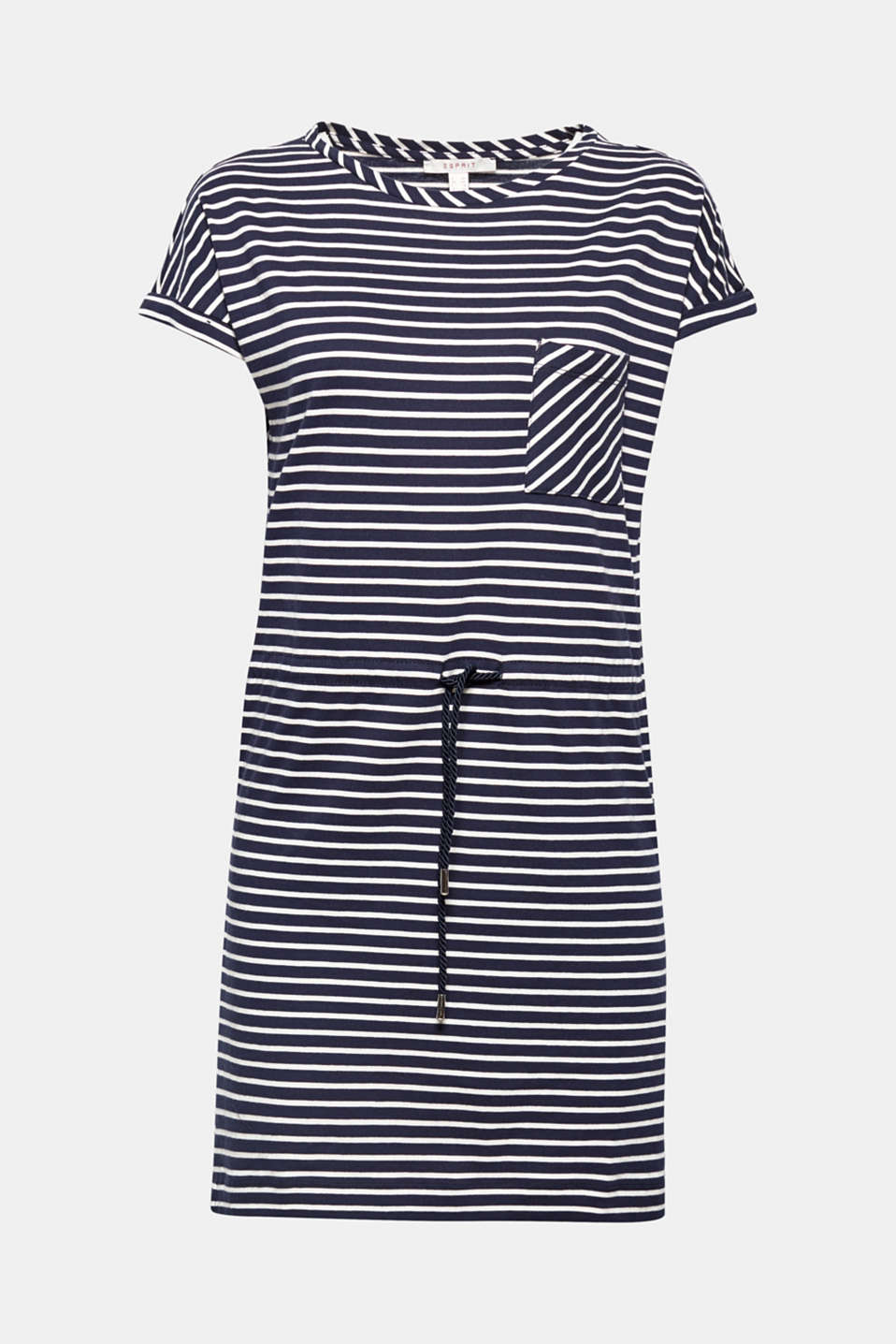Casual, lightweight and incredibly comfortable! This striped T-shirt dress with a drawstring waist and breast pocket will quickly become an airy favourite piece for casual wear and holidays!