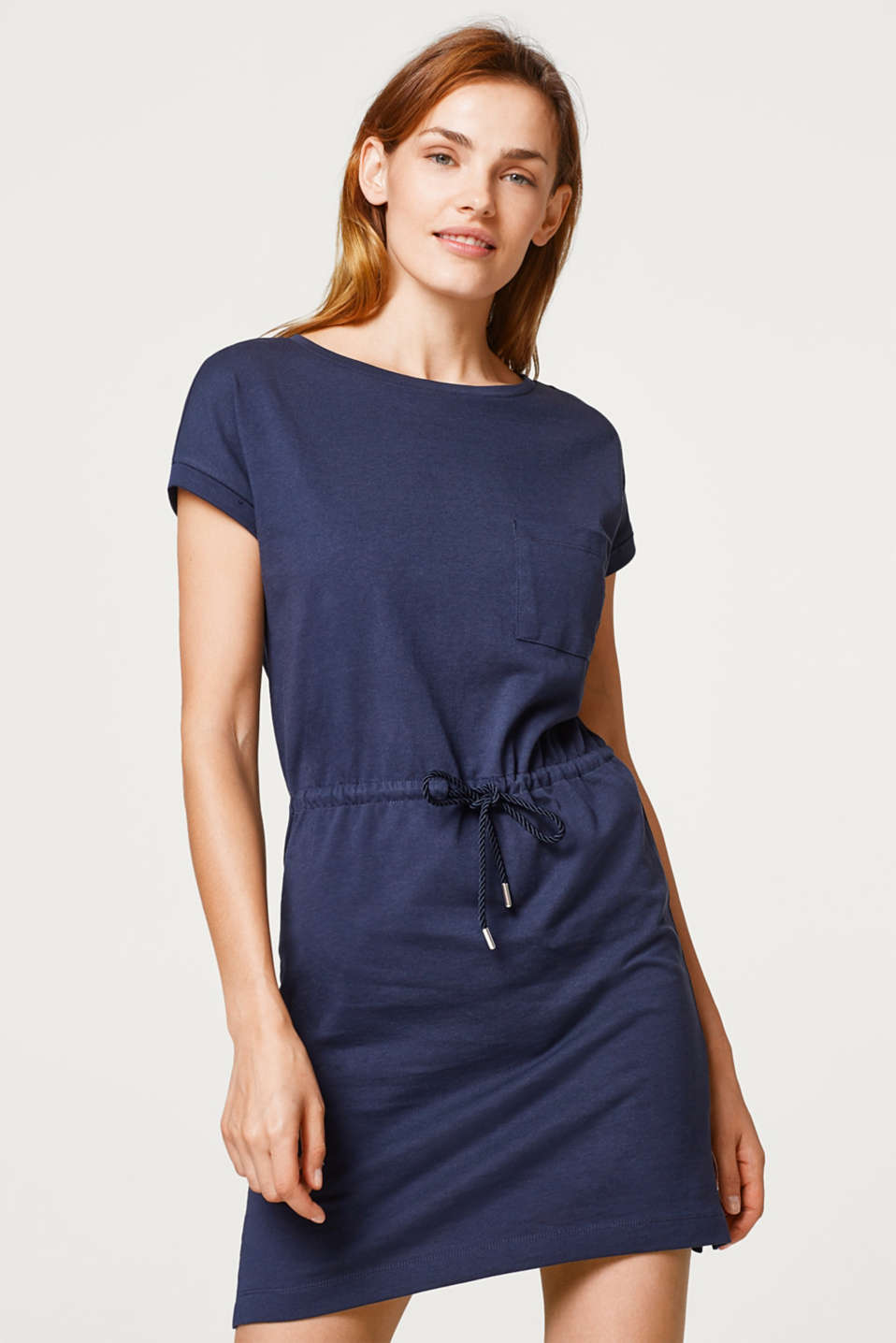 Esprit - Jersey dress with a breast pocket and a drawstring waist