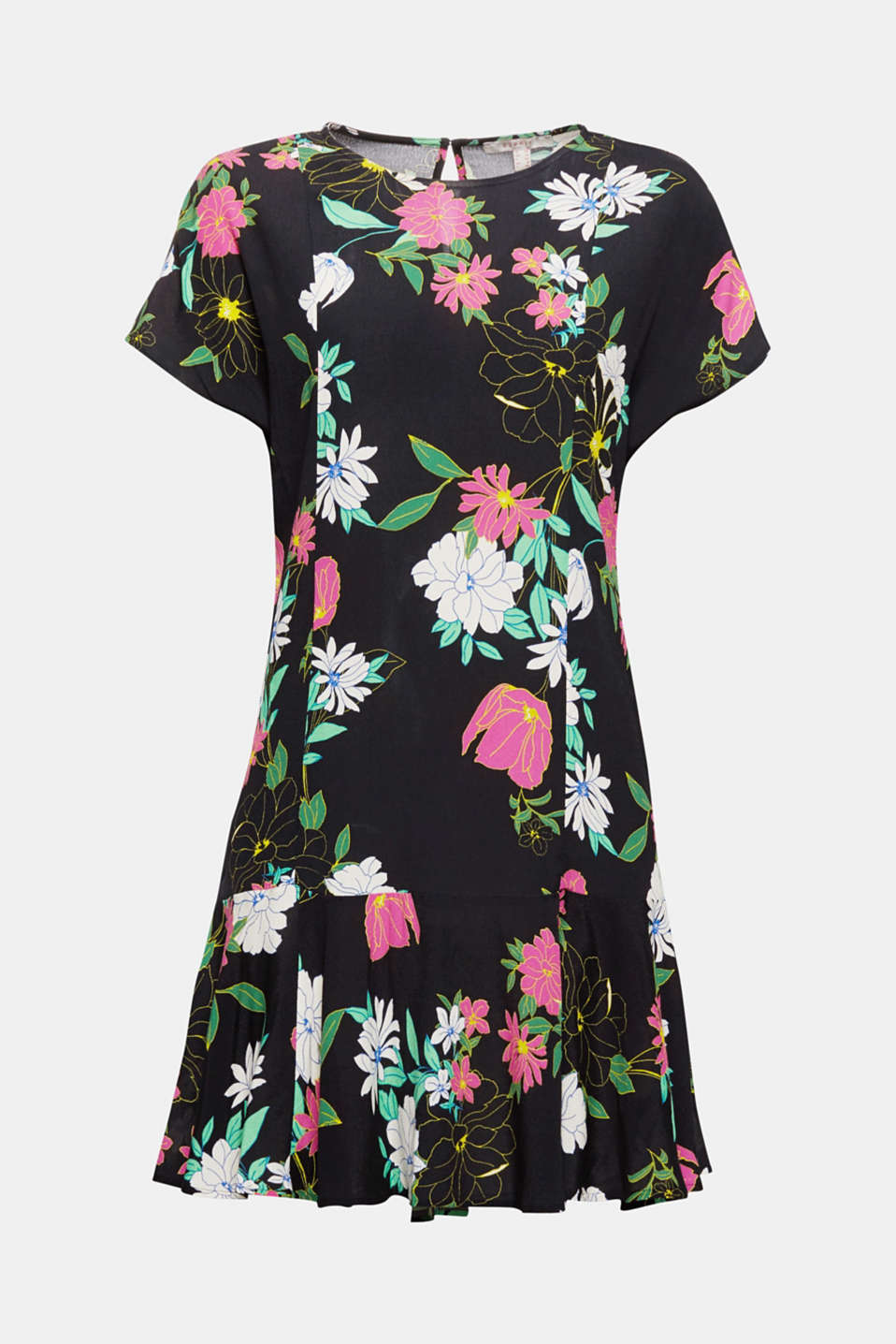 Might be your new favourite summer dress: in cool crêpe with a decorative floral print, a casual straight fit and wide, swirling hem flounce!