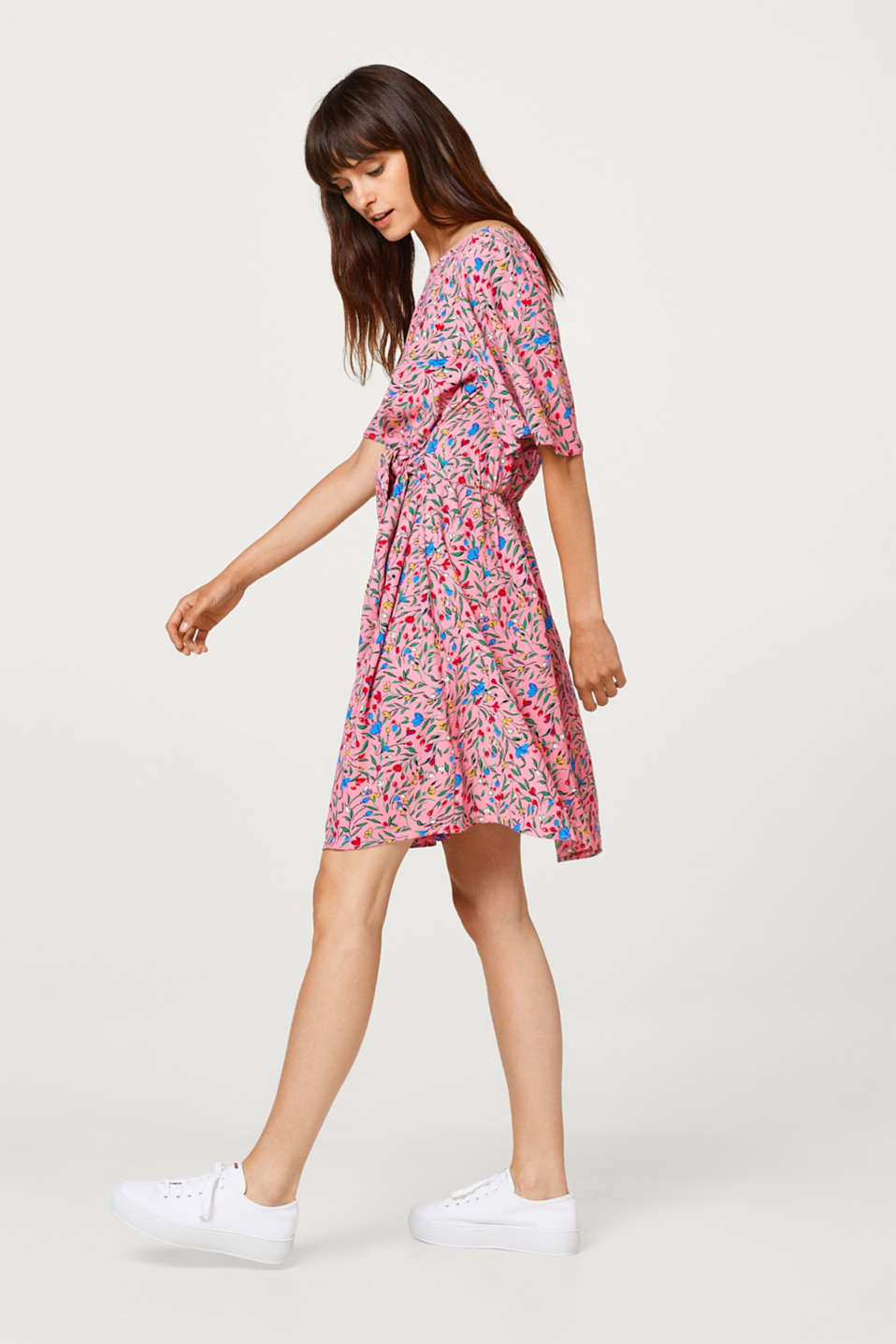 Esprit - Print dress with knot details and cap sleeves