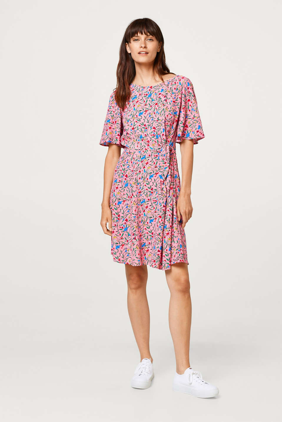Print dress with knot details and cap sleeves