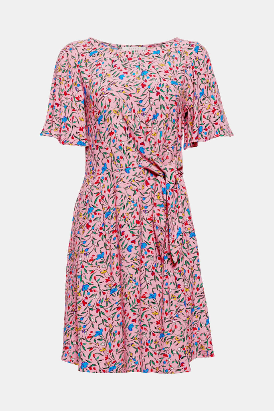 Sweet summer day - in this airy, lightweight dress with a colourful floral print, fashionable cap sleeves and knot detail at the side of the waist!
