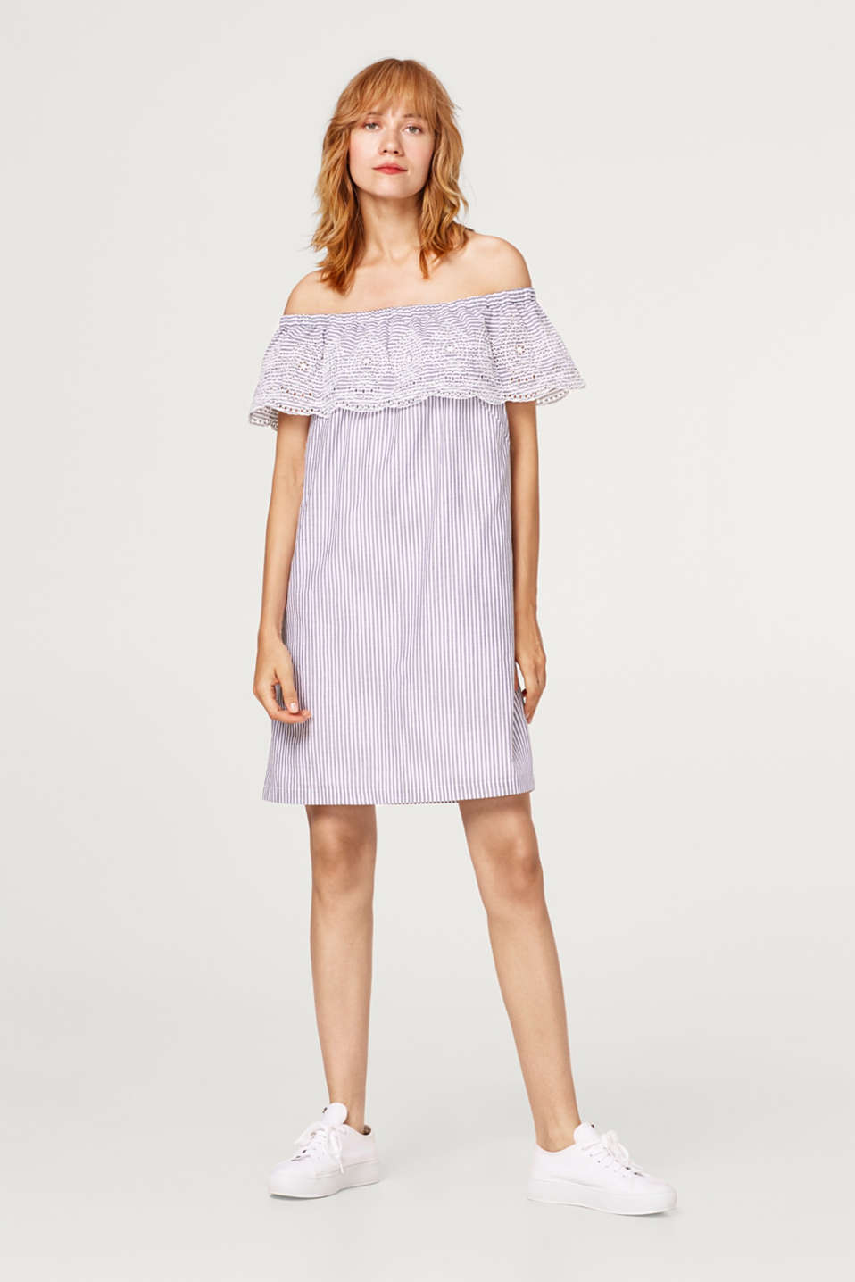 Esprit - Dress with broderie anglaise, 100% cotton