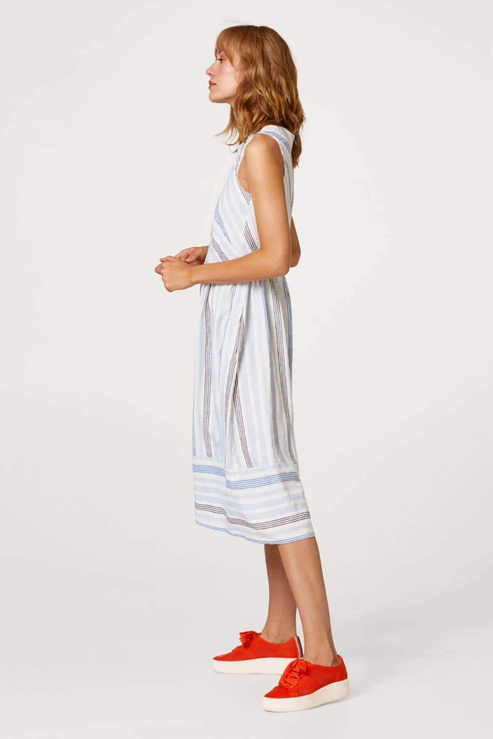 Esprit - Made of a linen blend: striped midi dress