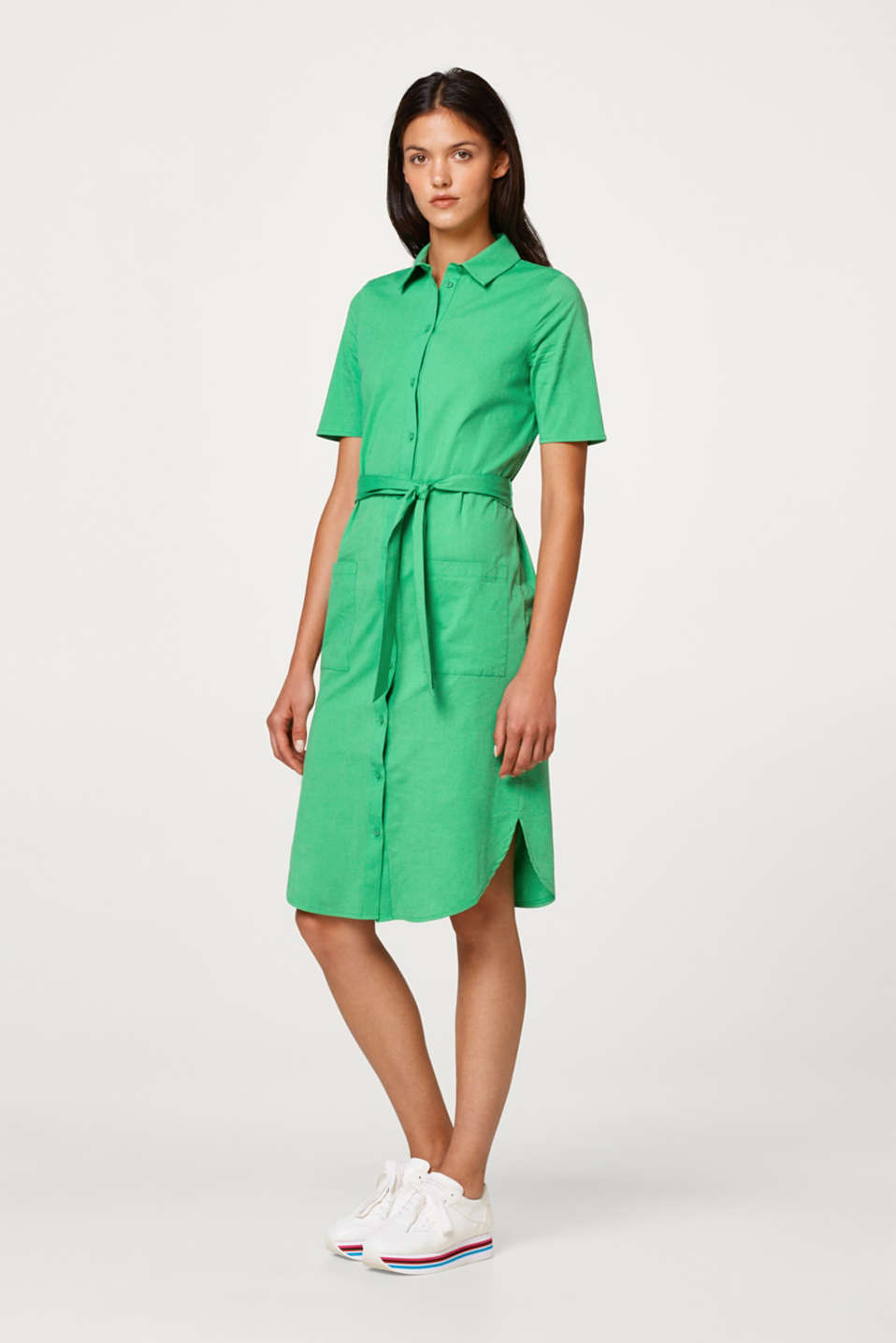 Esprit - Shirt dress made of stretch cotton