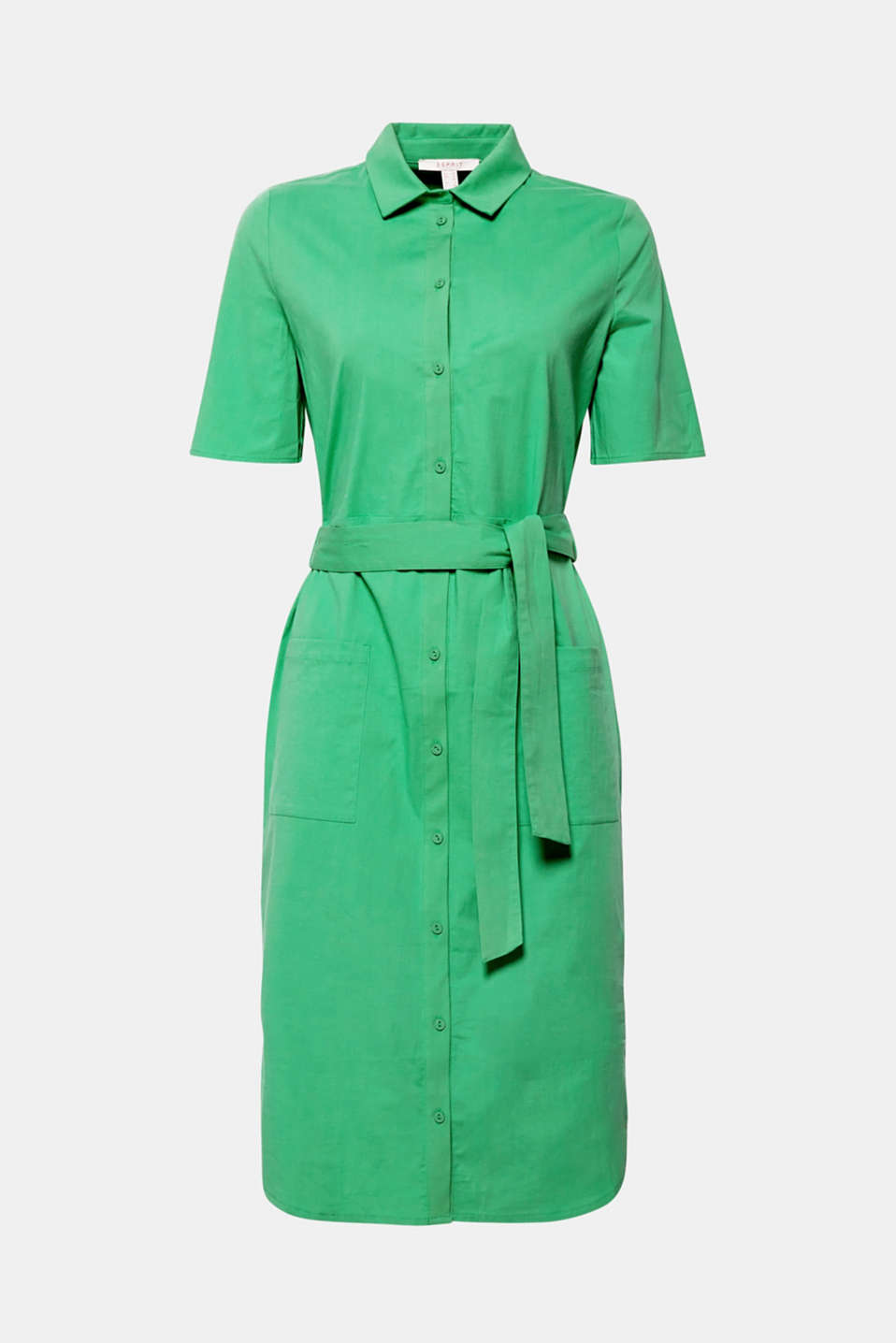 The casual, elegant look and comfortable stretch cotton fabric make this shirt dress the perfect go-to piece for everyday outfits or for work.