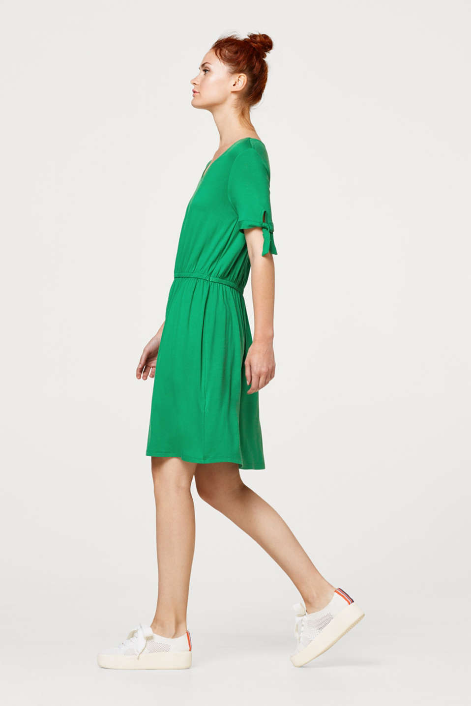 Esprit - Stretch jersey dress with bows