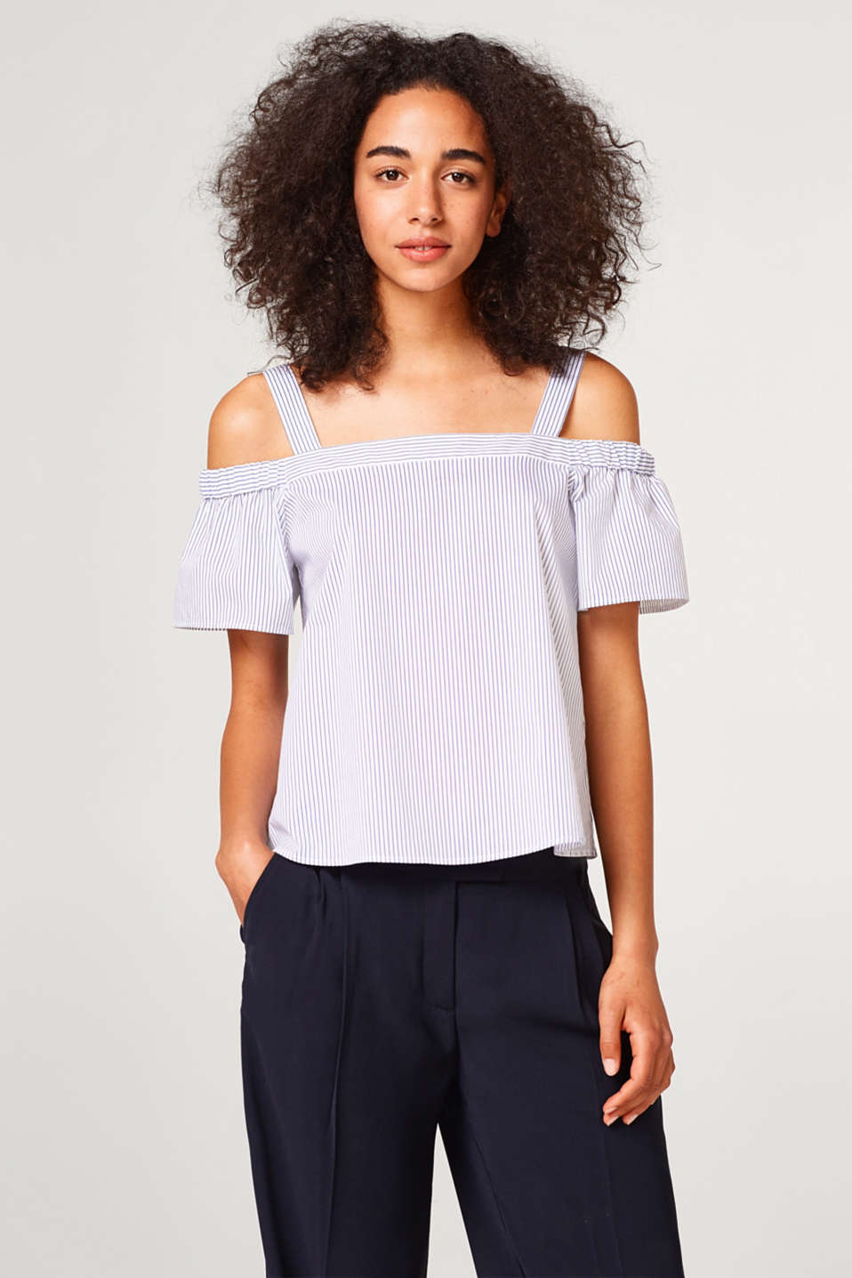 Esprit - Randig off-shoulderblus i bomullsstretch