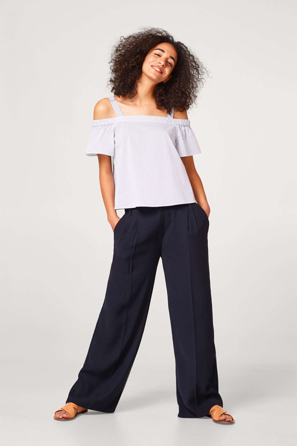 Gestreifte Off-Shoulder-Bluse aus Baumwoll-Stretch