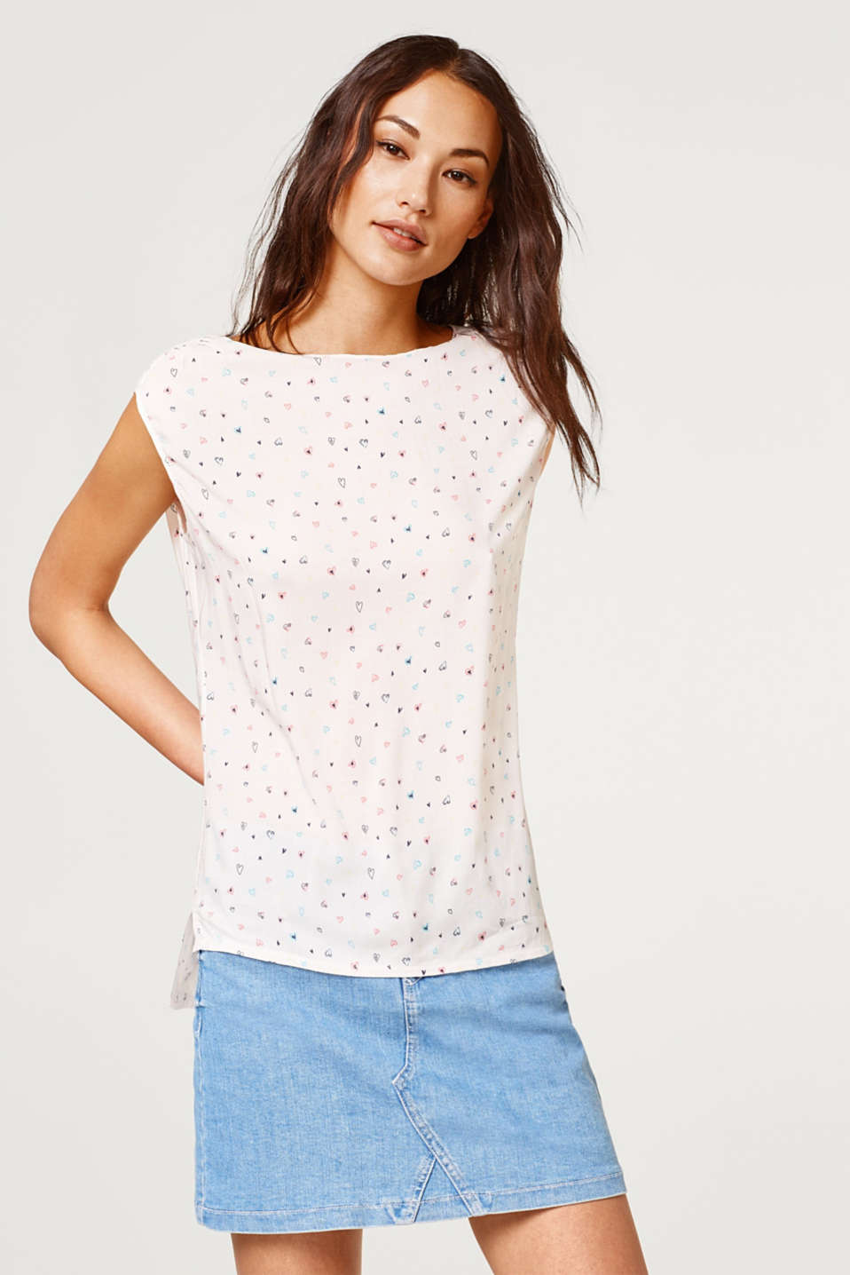 Esprit - Printed blouse top with a high-low hem