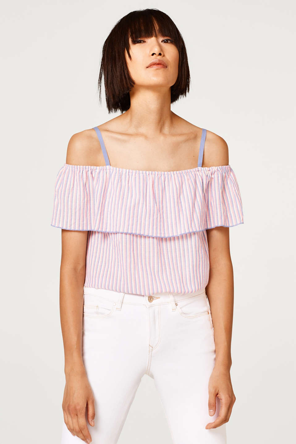 Esprit - Cotton off-the-shoulder blouse with colourful stripes
