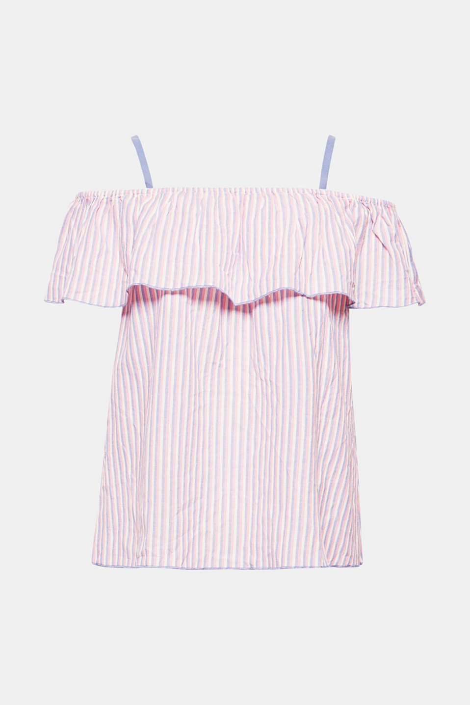 A fine striped pattern and sensual Carmen neckline with straps and a flounce – this is what makes this off-the-shoulder blouse a light and airy eye-catcher!