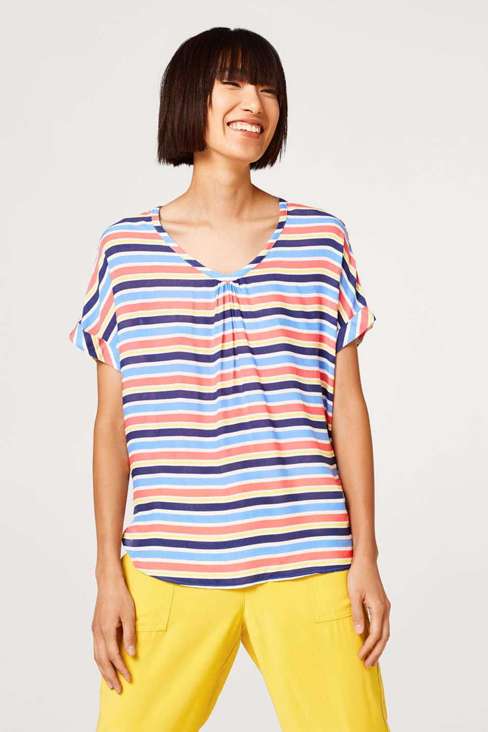 Esprit - Blouse top with a colourful striped pattern