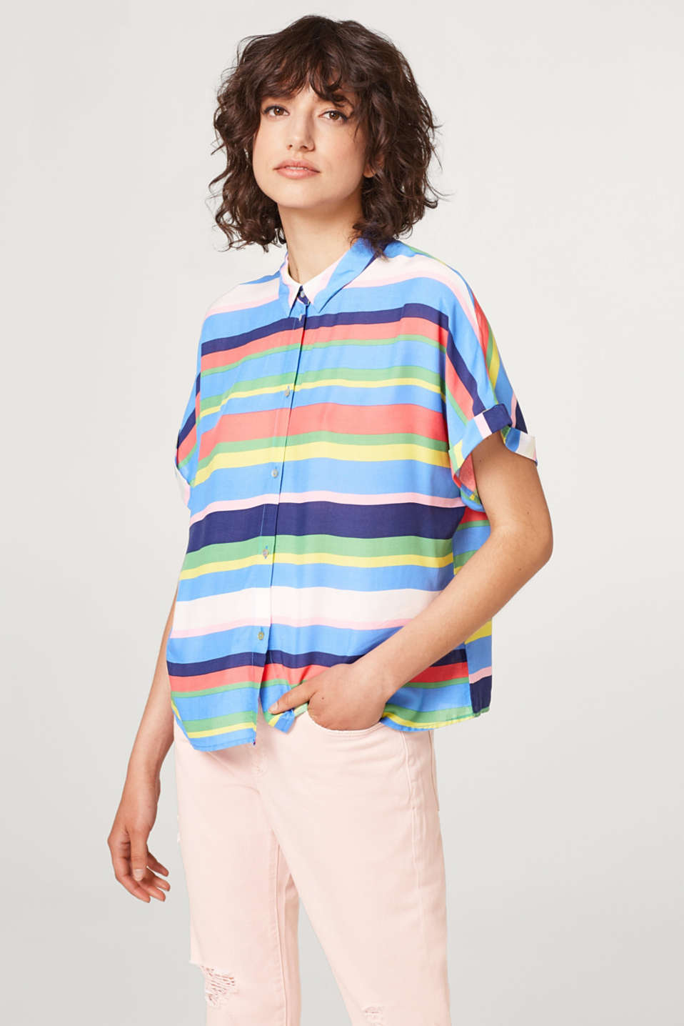 Esprit - Soft, boxy blouse with multi-coloured stripes
