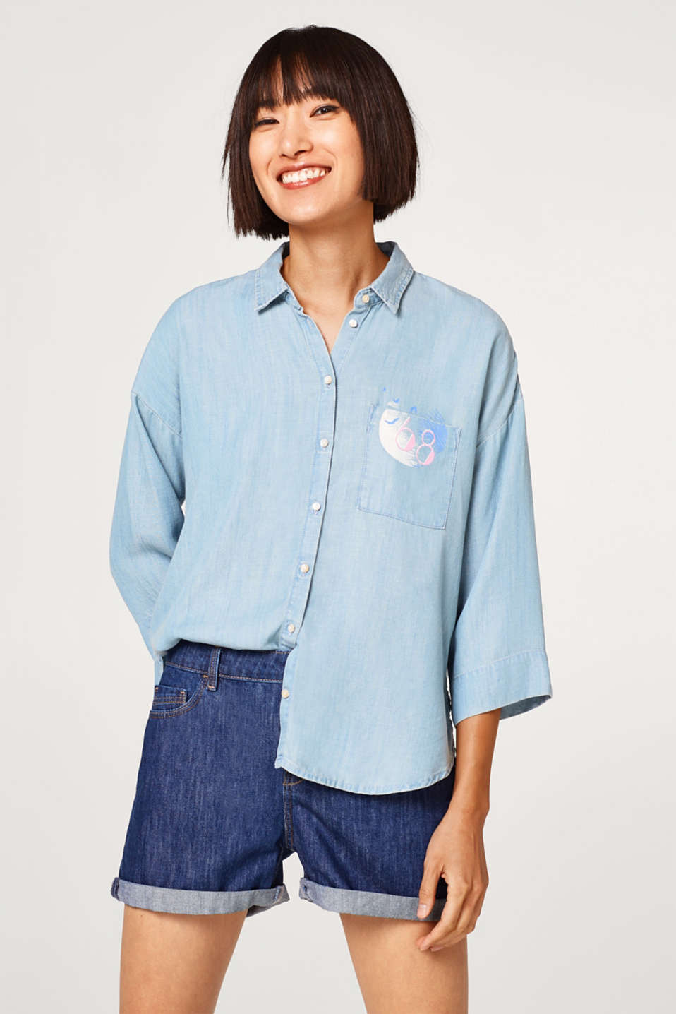Esprit - Lyocell blouse in a denim look with a breast pocket