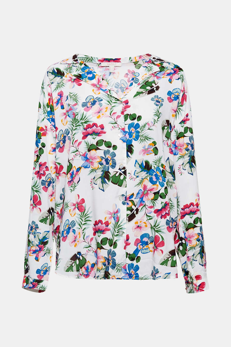 The colourful Hawaii print immediately brings about the mood for holiday and good vibes: loose, lightweight blouse with a wide, open collar and casual fit.
