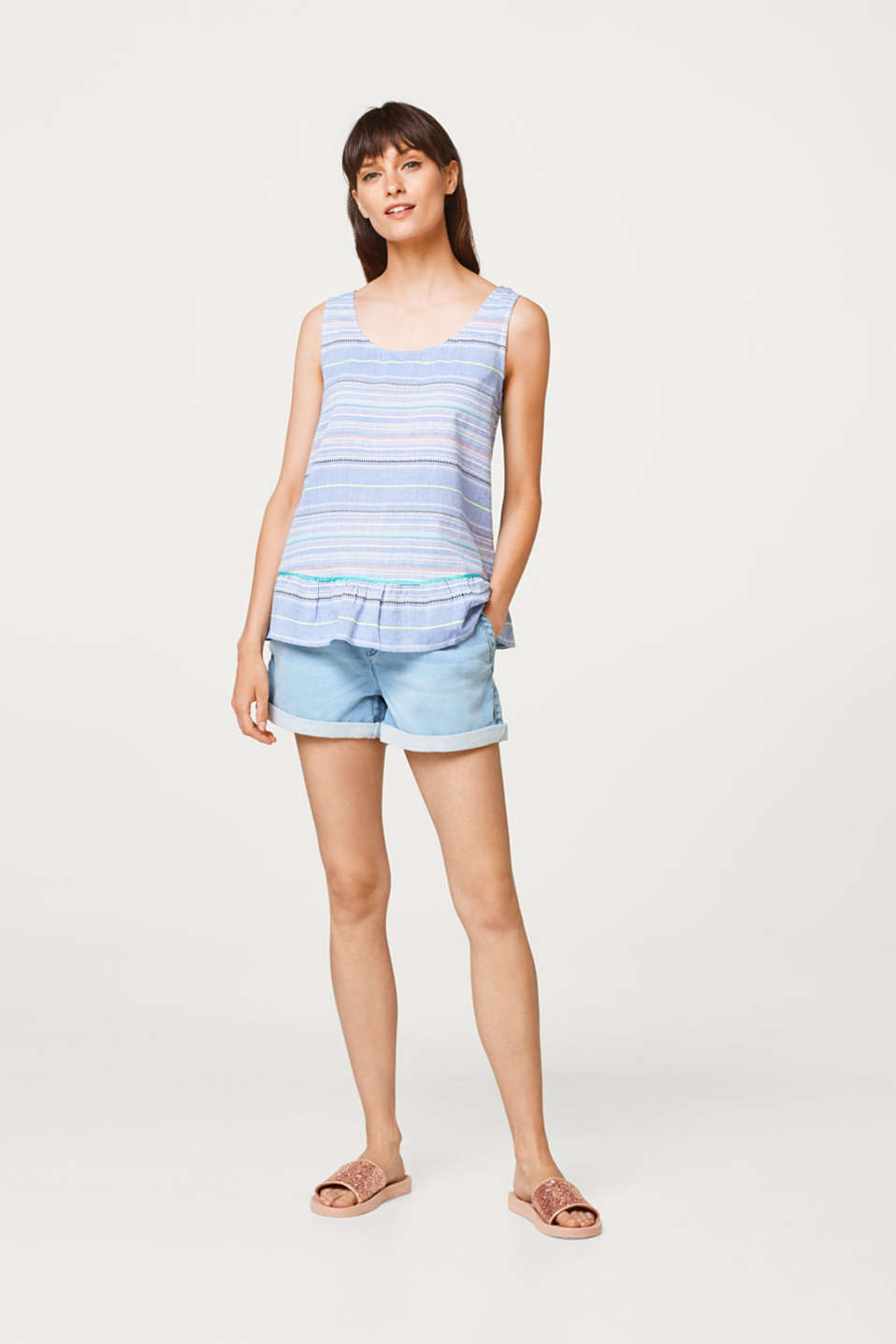Esprit - Blouse top with multi-coloured stripes and a peplum