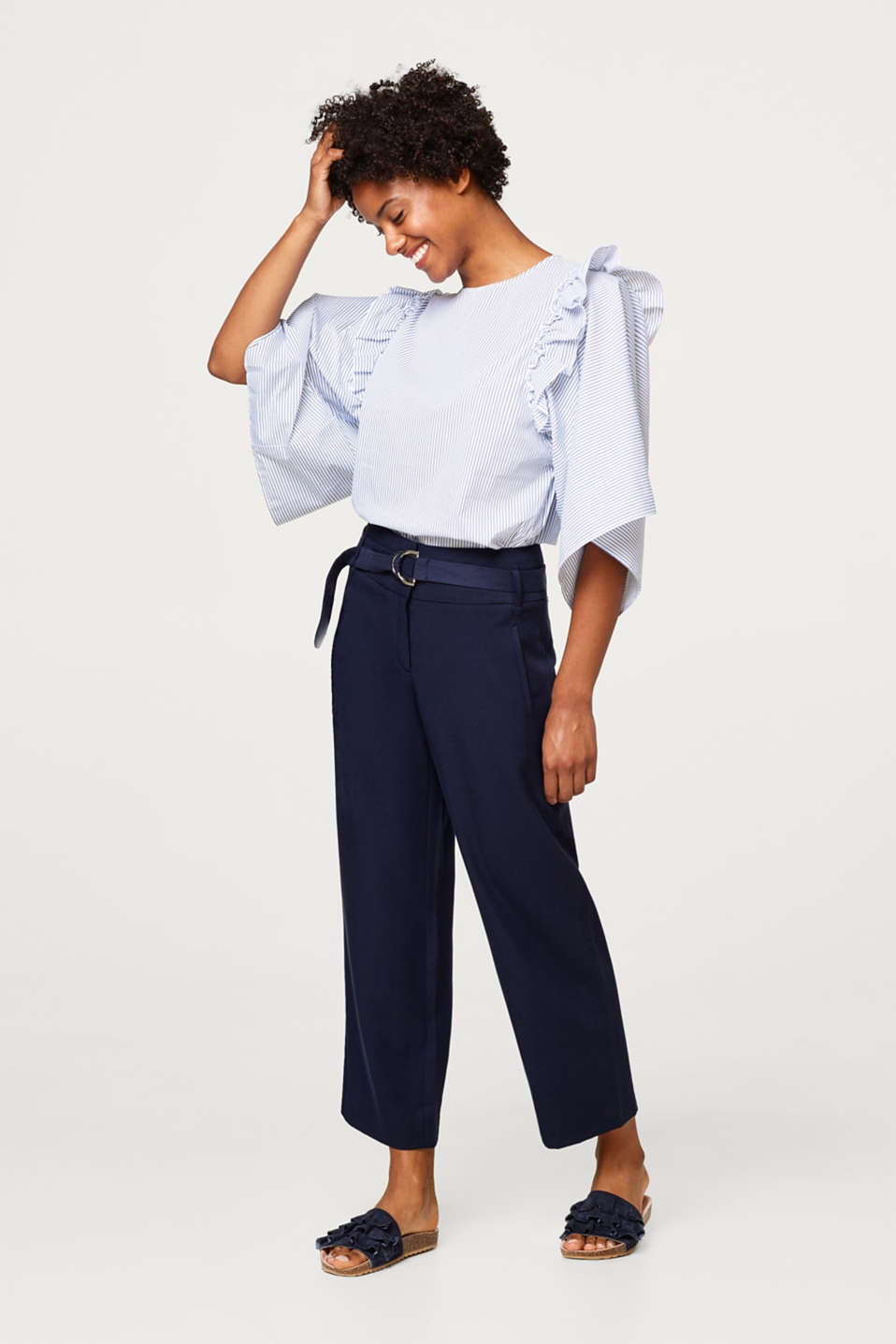 Stretchy blouse with extra wide sleeves