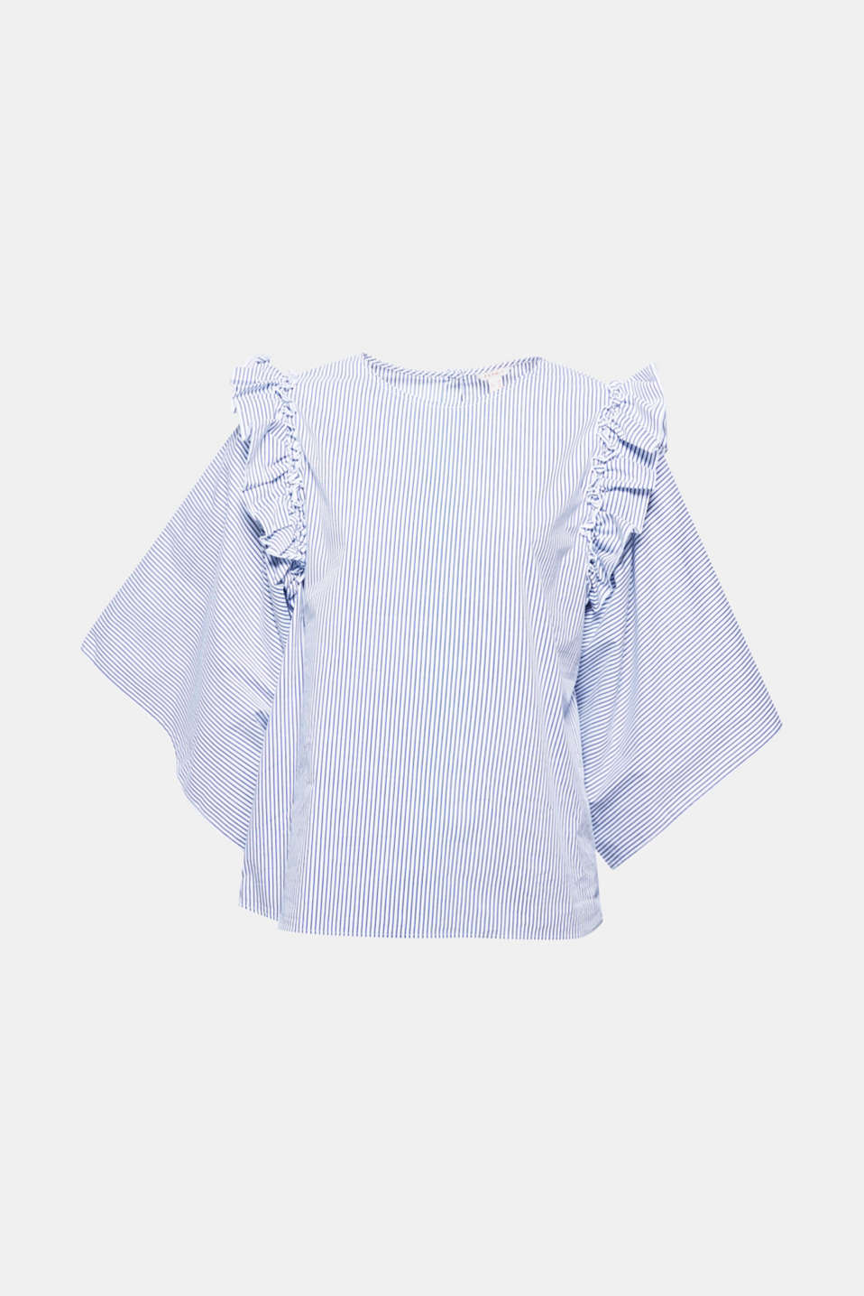 Nautical stripes, pretty frills and extra-wide sleeves make this fresh blouse in blended cotton a highlight!
